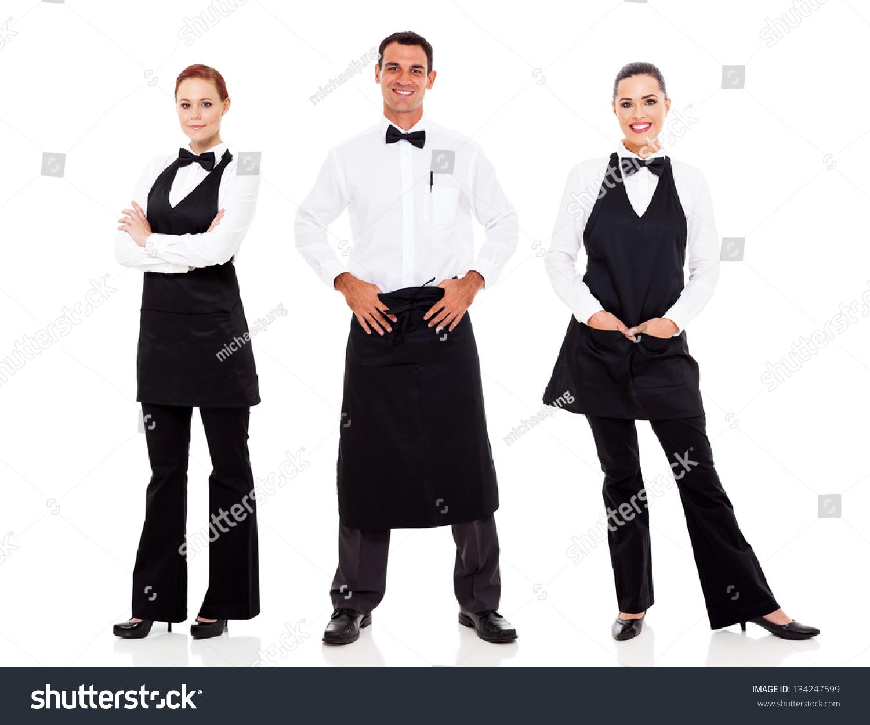 group waiter waitress full length portrait stock photo 134247599