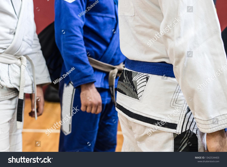 Midsection BJJ Brazilian Jiu Jitsu Fighters Stock Photo