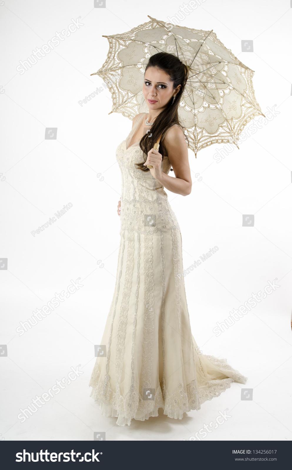 Beautiful Bride Long Hair Wedding Dress Stock Photo (Royalty Free ...