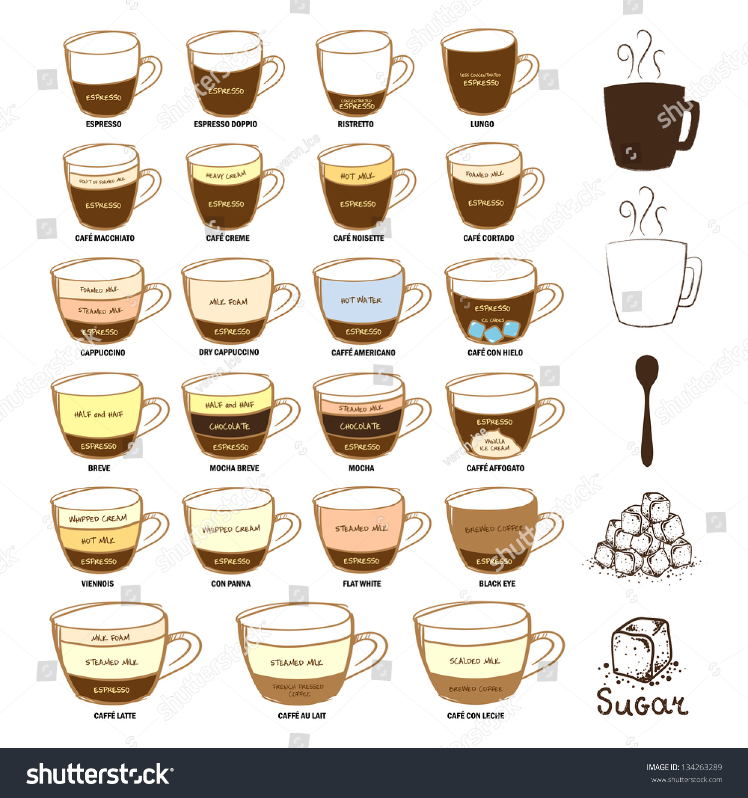 diagram types of coffee stock photo    shutterstockdiagram types of coffee preview  save to a lightbox