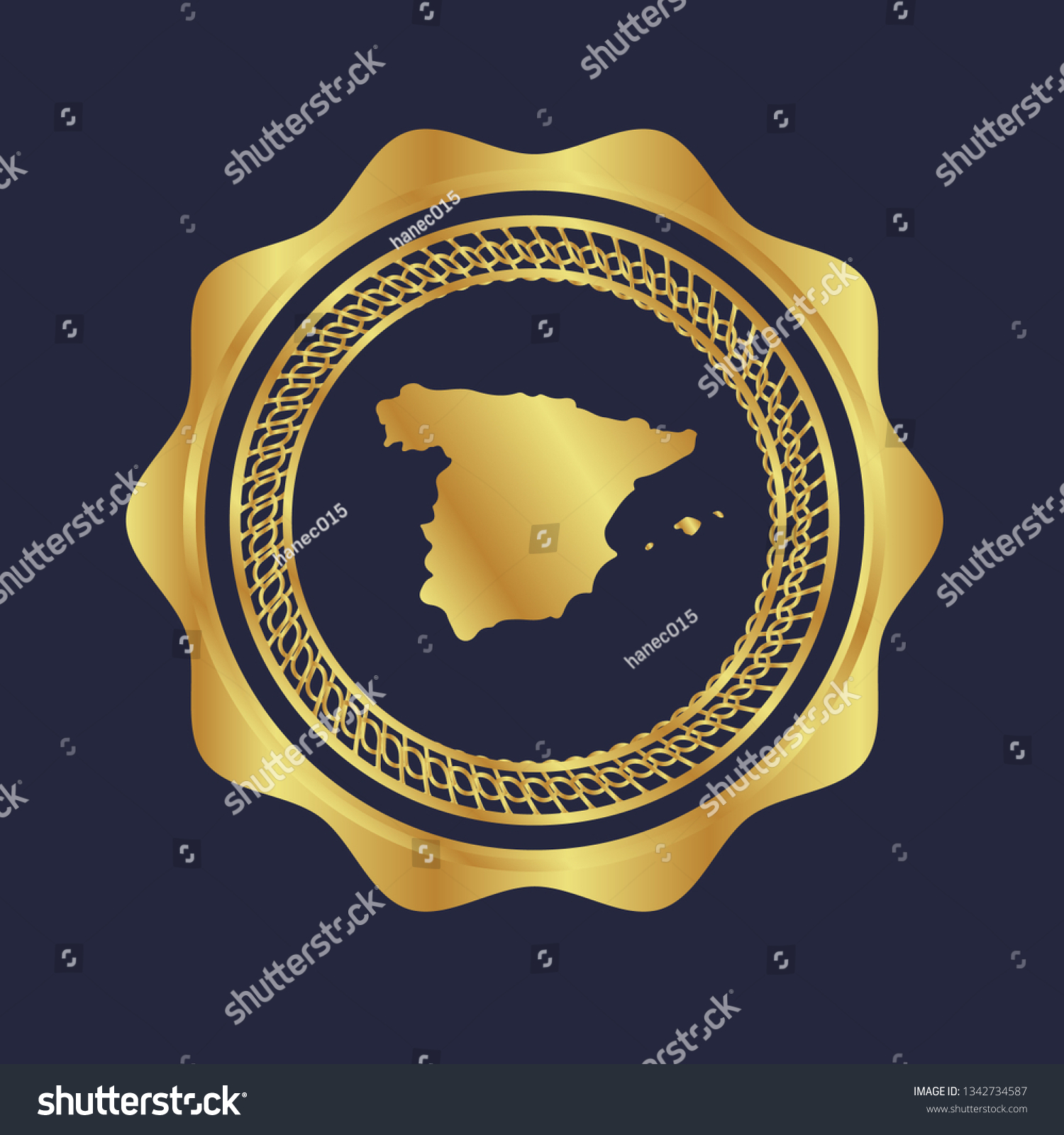 Map Of Spain To Label.Gold Button Spain Map Gold Spain Stock Vector Royalty Free 1342734587