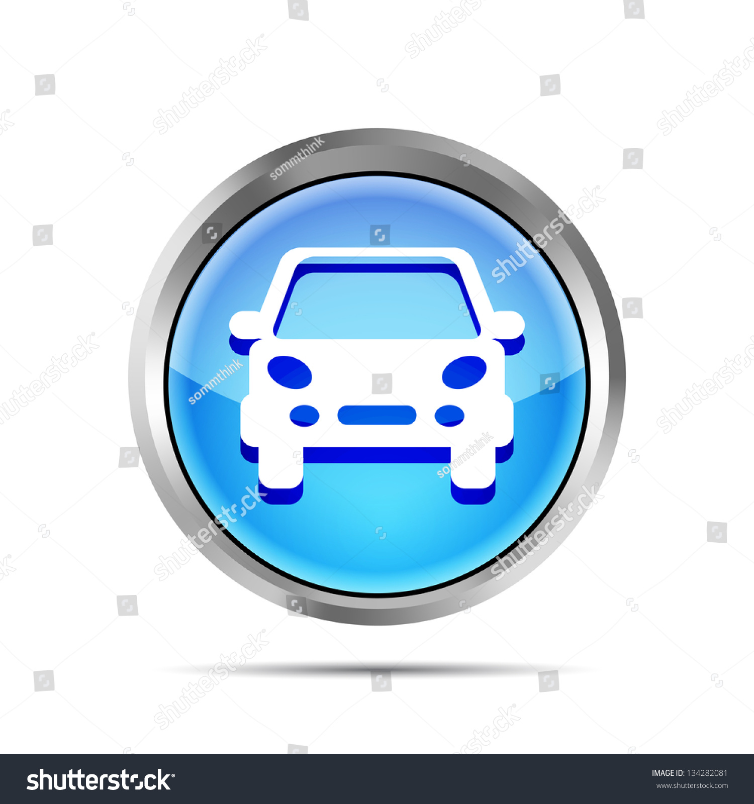 blue car button icon on a white background stock vector illustration 134282081 shutterstock. Black Bedroom Furniture Sets. Home Design Ideas