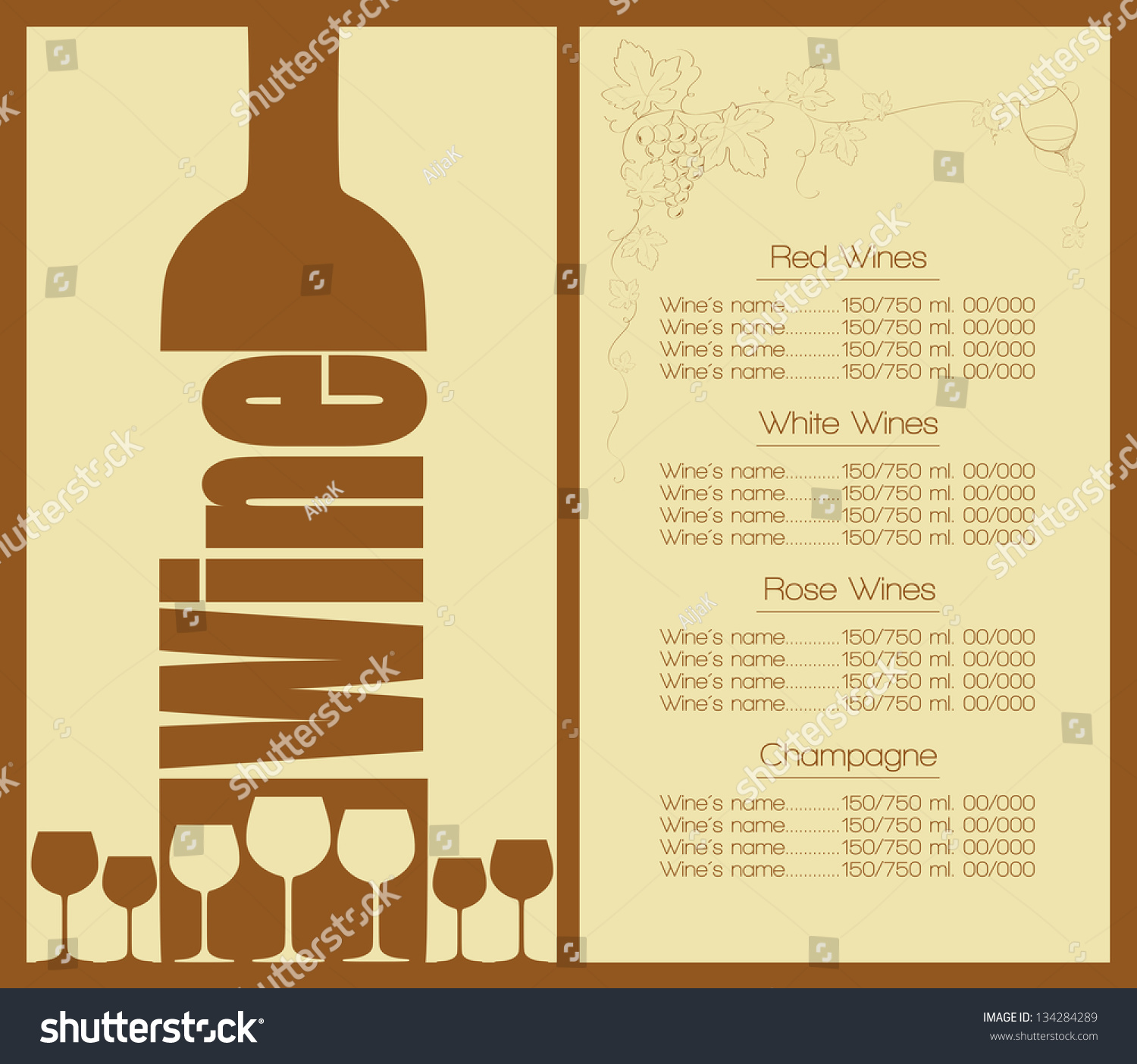 Wine list design for bar restaurant house or other