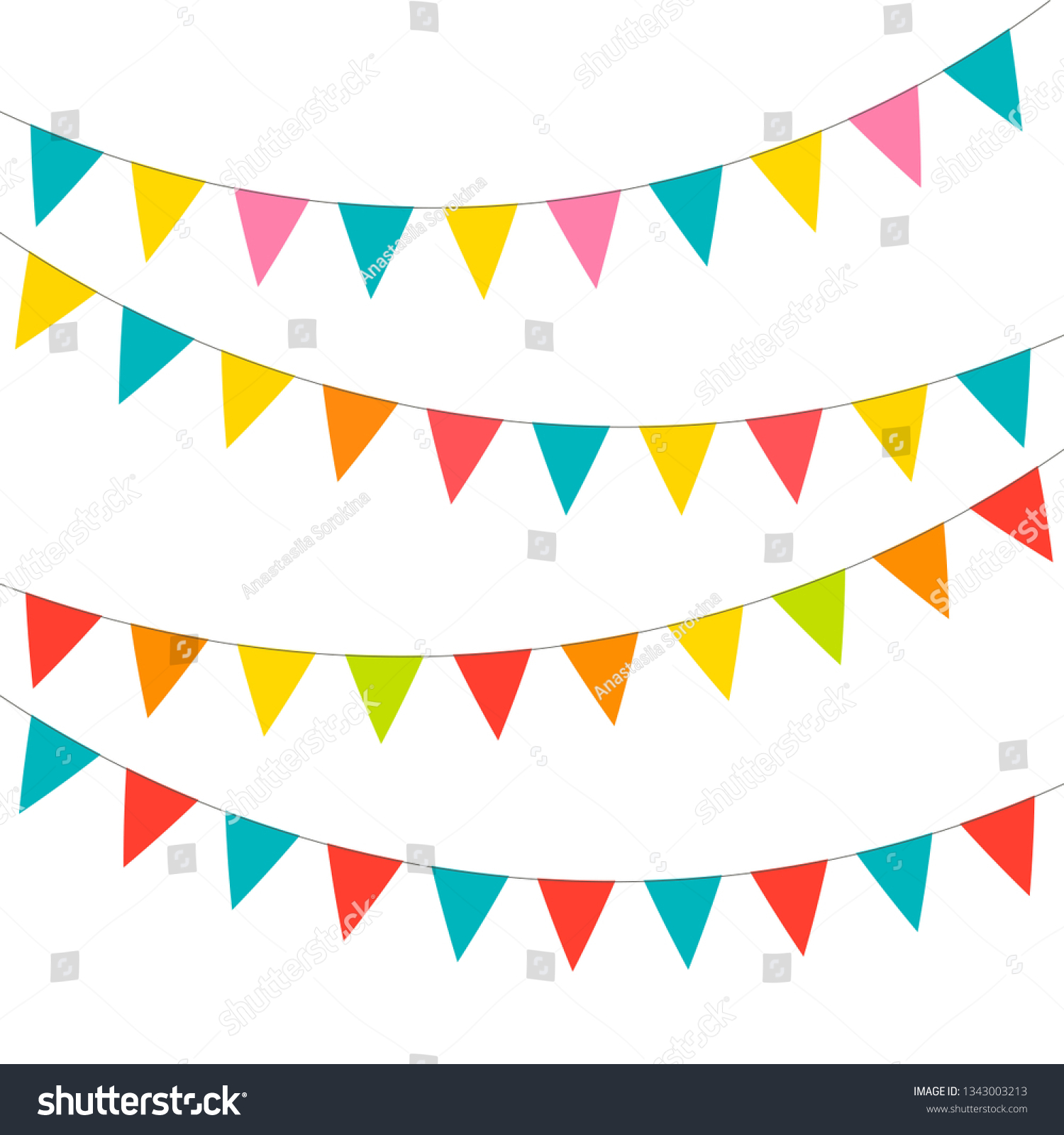 Blank Banner Bunting Swag Templates Scrapbooking Stock Vector Royalty Free 1343003213
