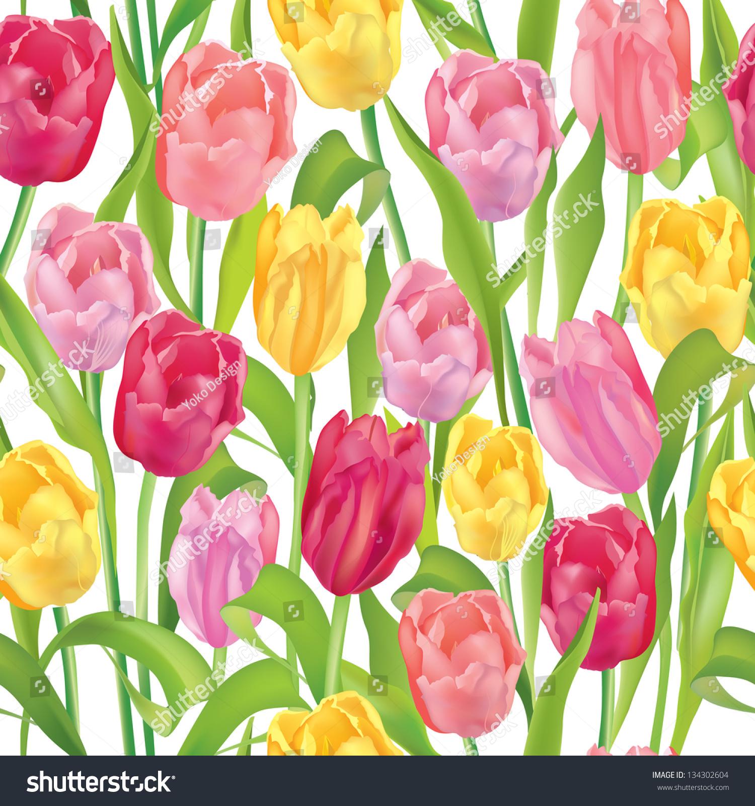 Flower Seamless Background. Flower Tulips Over White