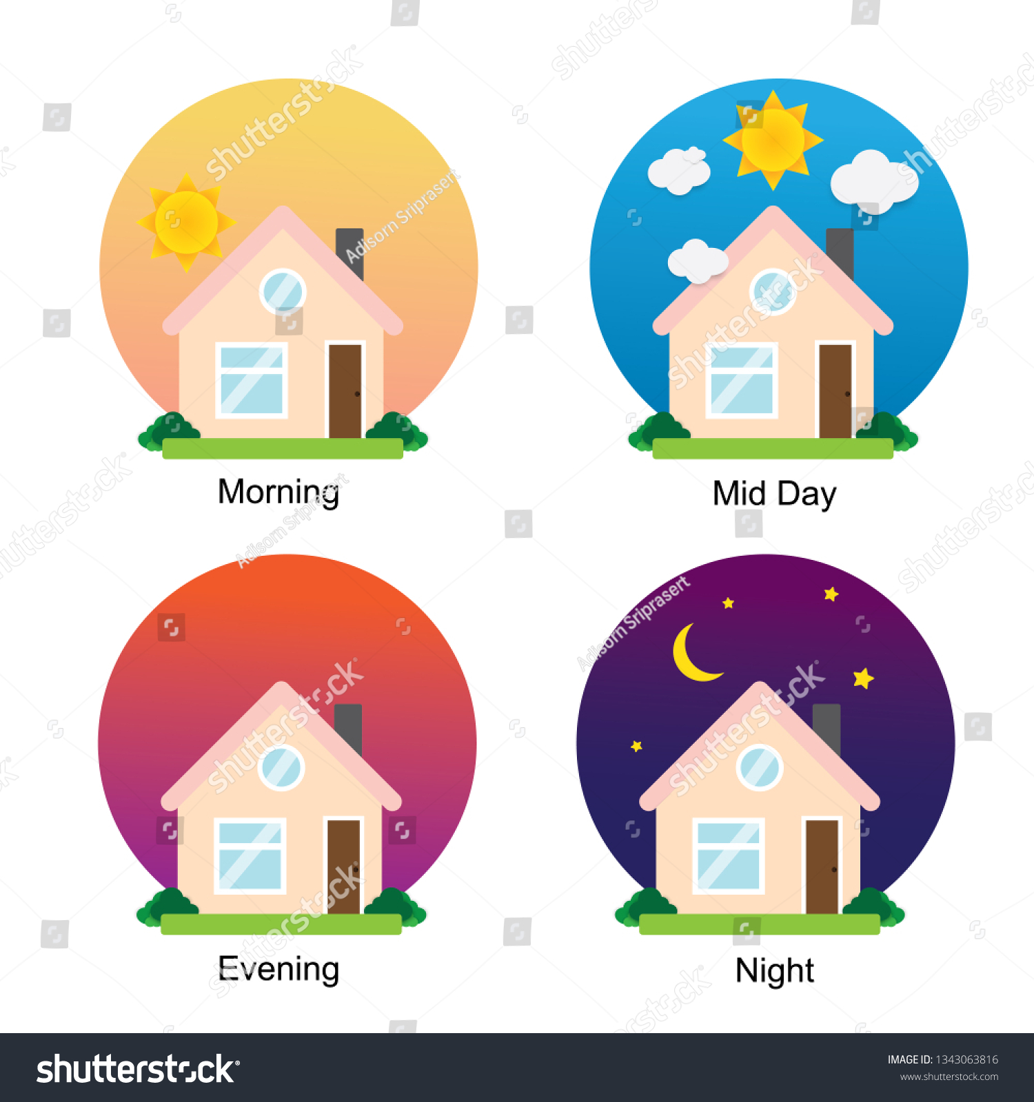 Different times of the day.Good morning, good afternoon, Good evening, Good night, day and night, Times of day, 4 times for people routine.