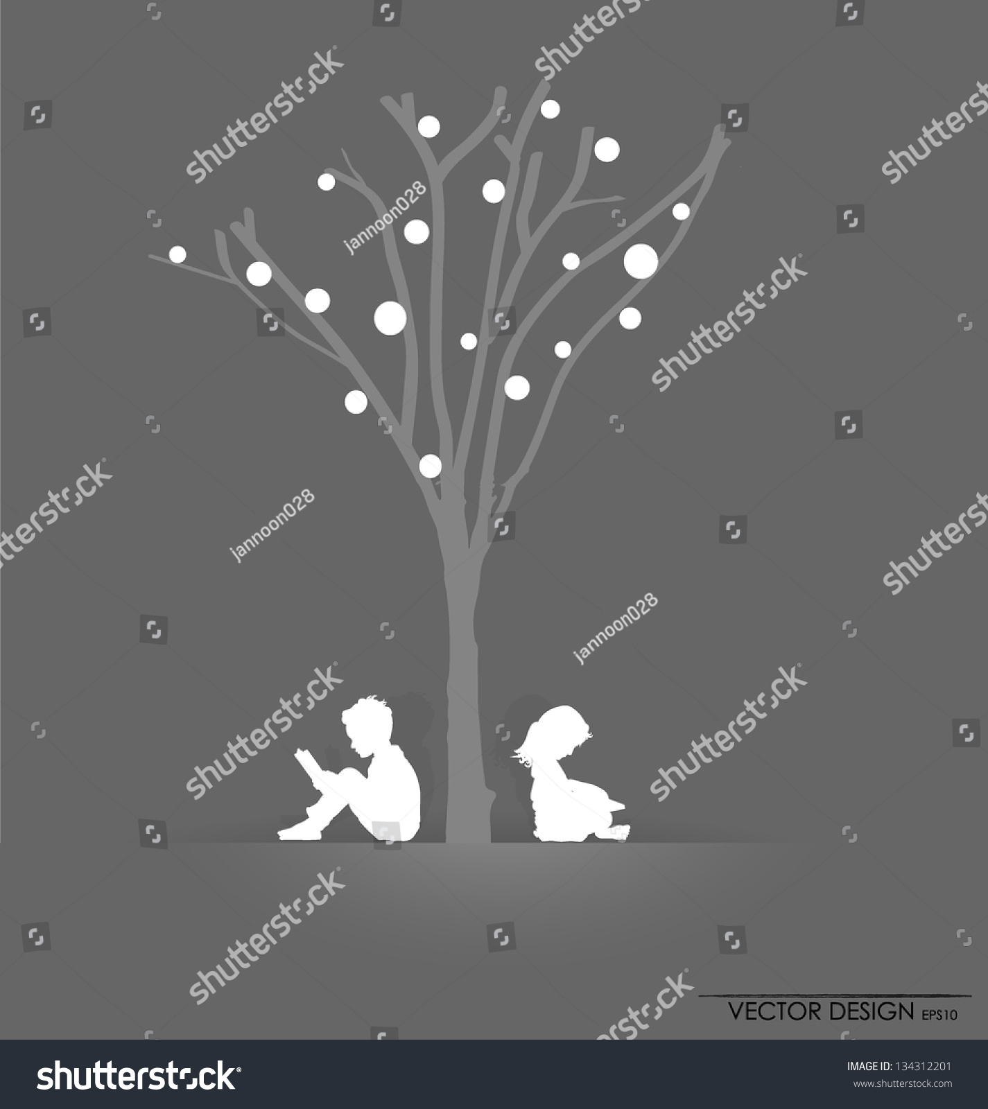 Stock Vector Vector Background With Children Read A Book Under Tree Ve...