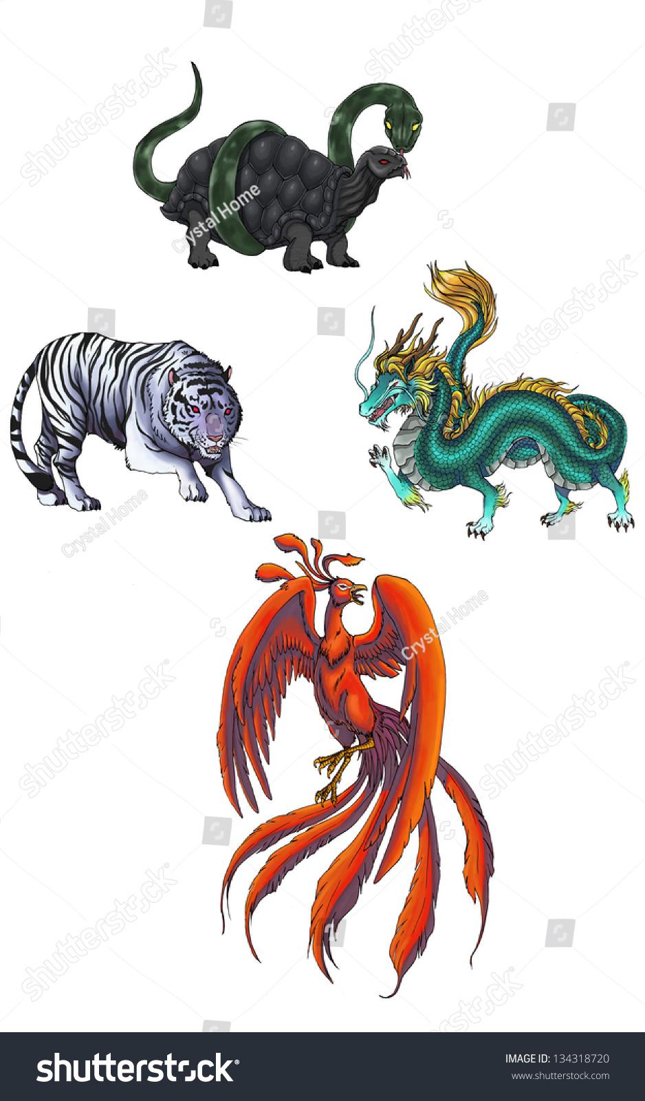 Illustration 4 Chinese Mythical Religious Monster Stock Illustration