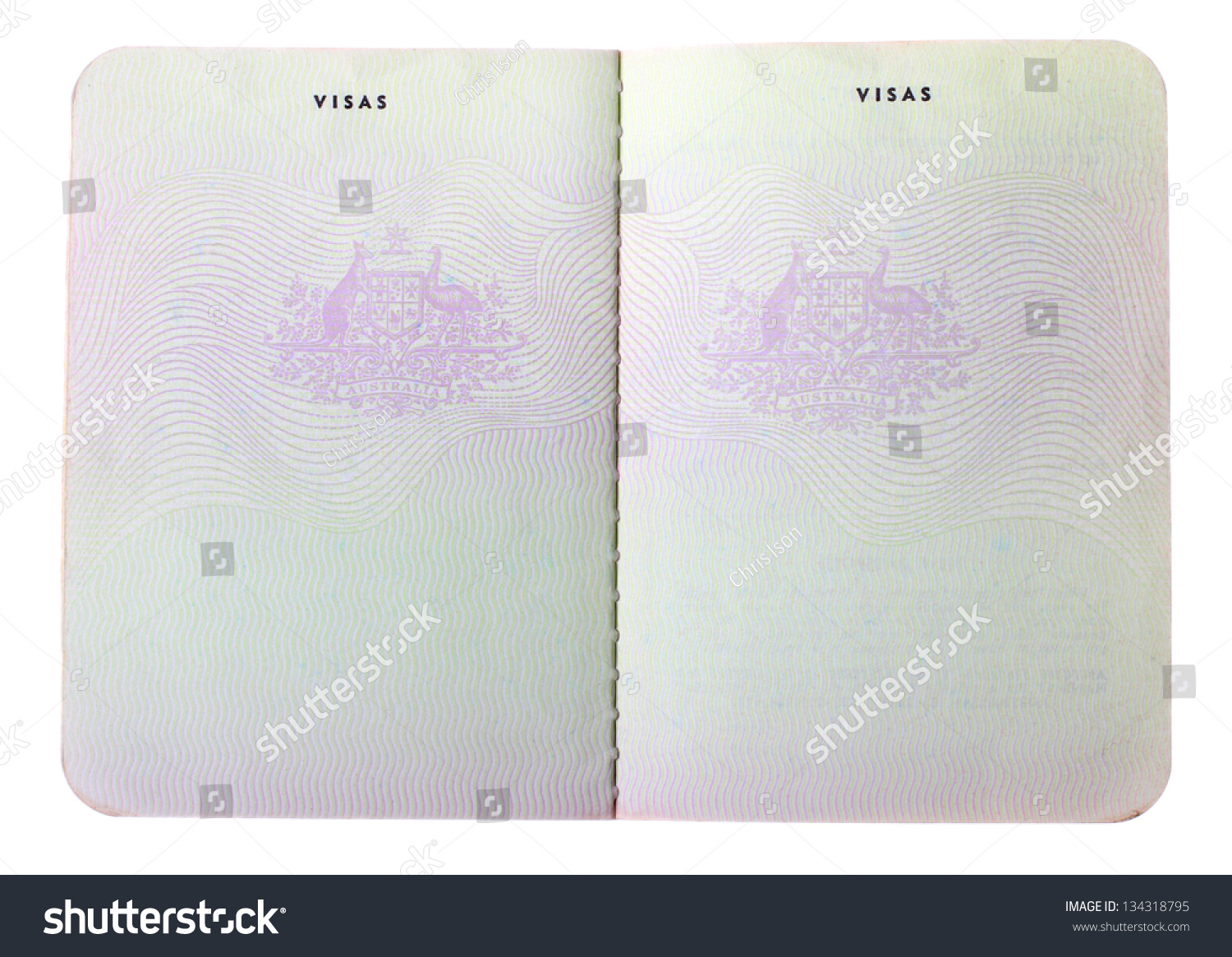 blank old australian passport pages isolated on white background  stock photo 134318795
