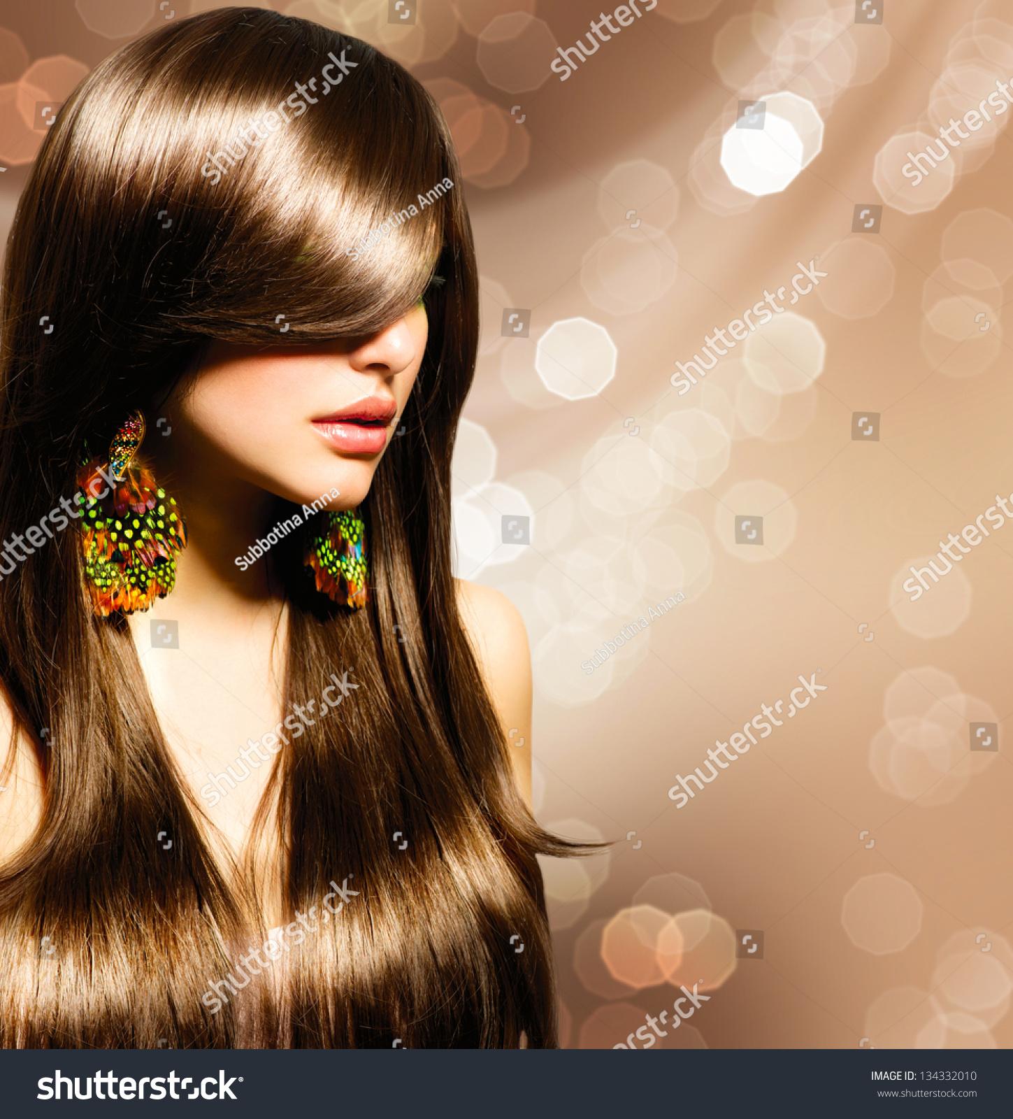 Hair Beautiful Brunette Girl Healthy Long Stock Photo Edit Now