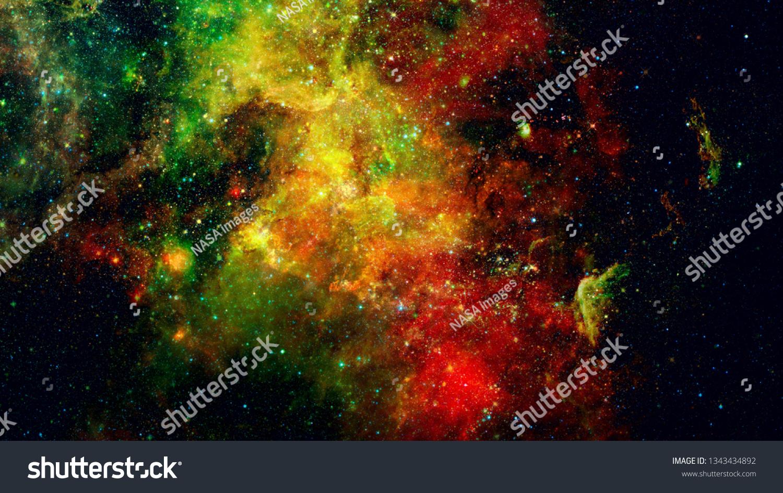 Abstract Bright Colorful Universe Nebula Night Royalty Free