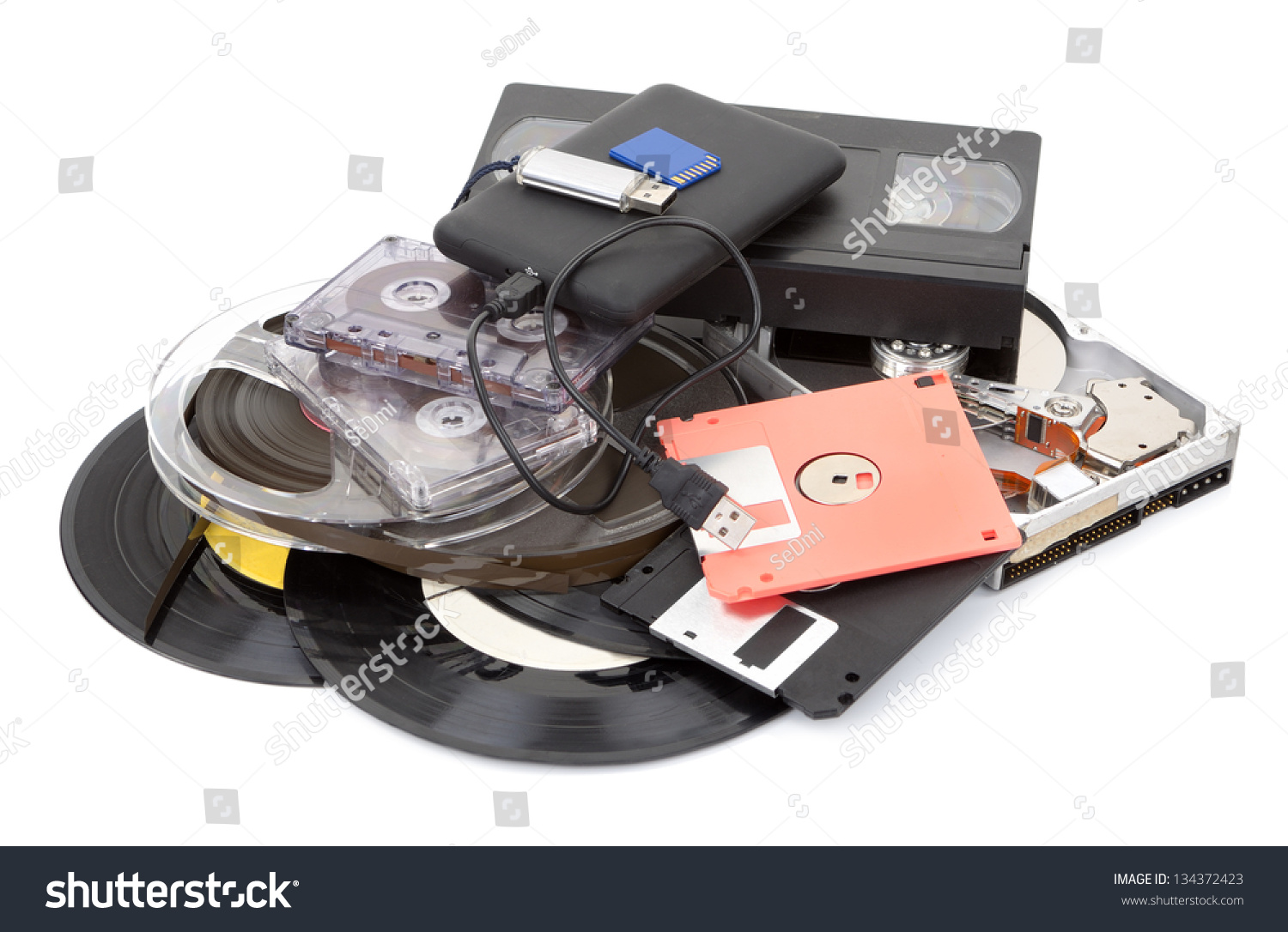 Different Data Storage Devices Stock Photo 134372423 : Shutterstock