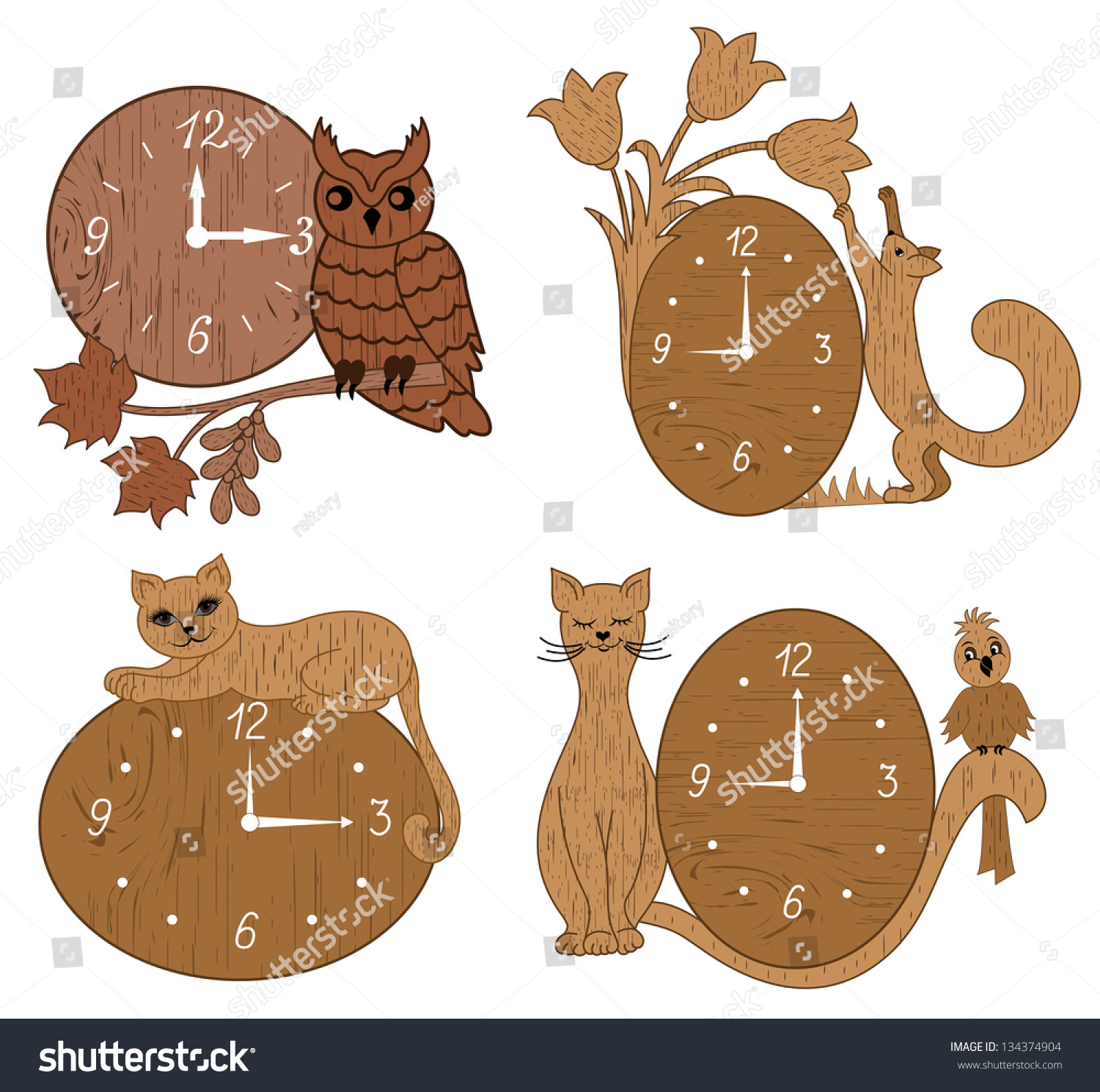 four types clock made wood decorated stock vector 134374904