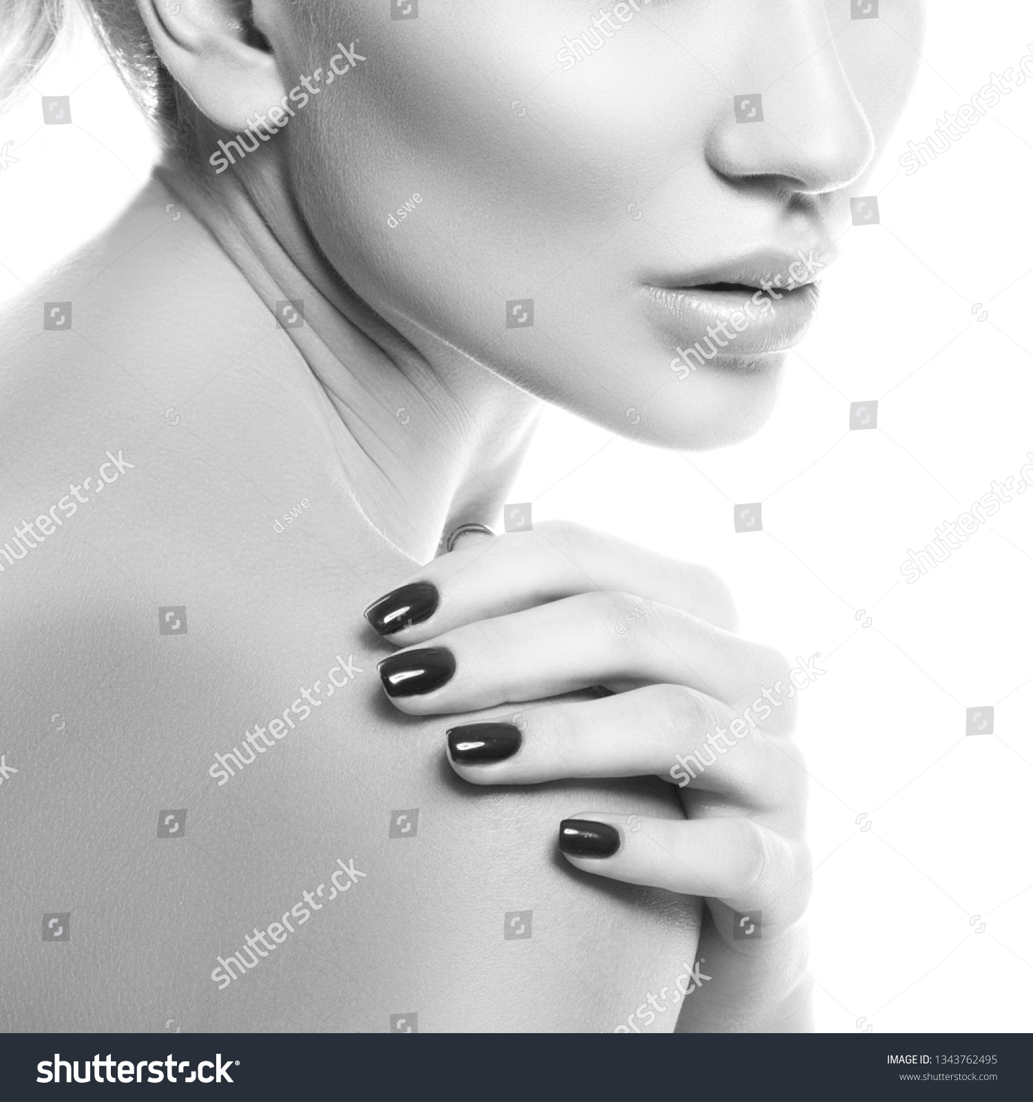 Girl lips partial woman studio portrait stock photo edit