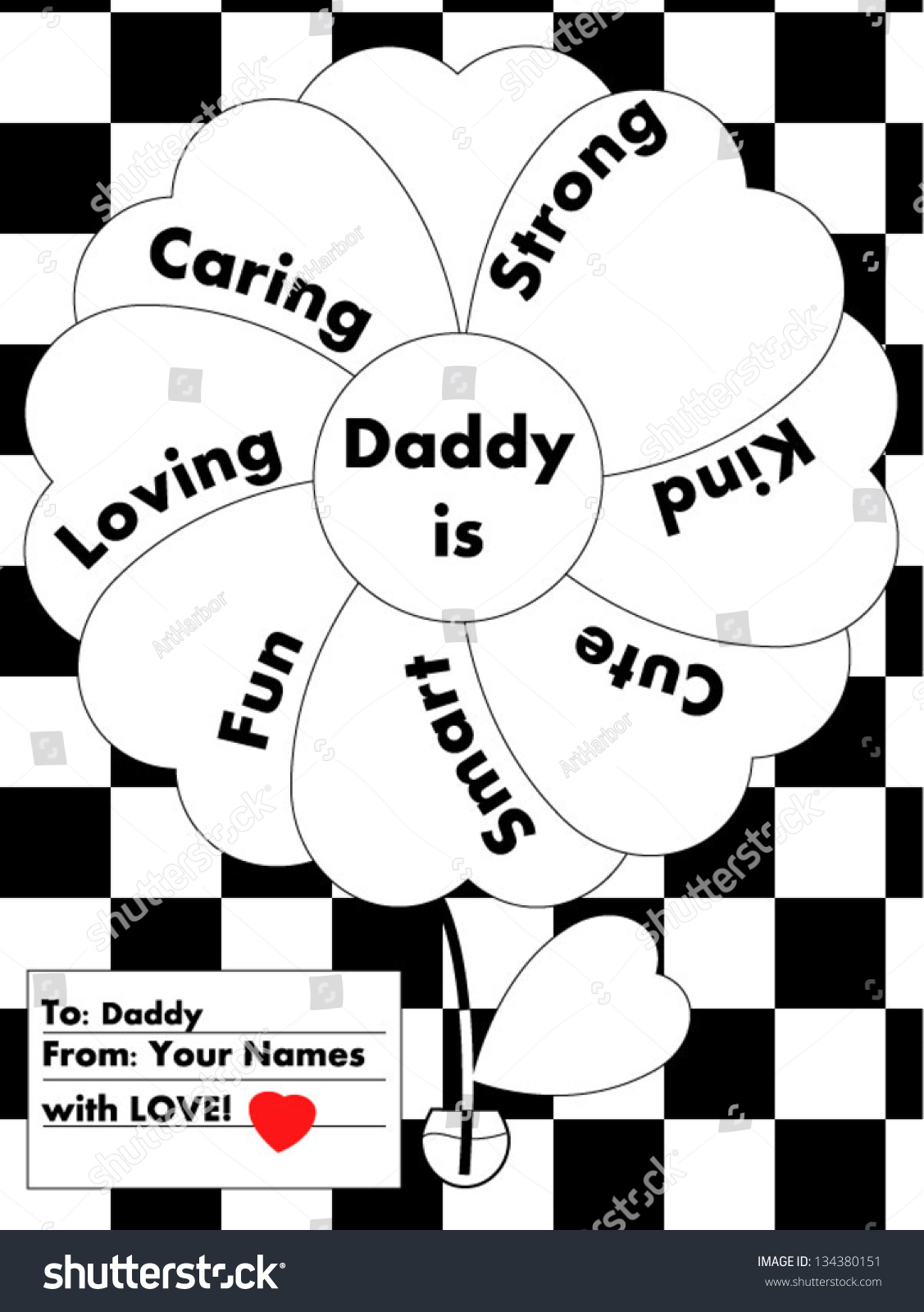 Colorityourself Love Letter Daddy Stock Vector (Royalty Free