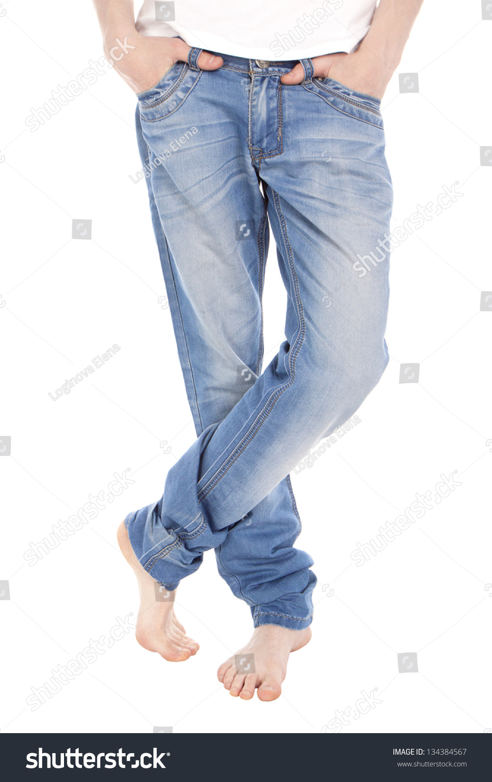 Young Man Jeans Tshirt Feet Isolated Stock Photo 134384567 ...