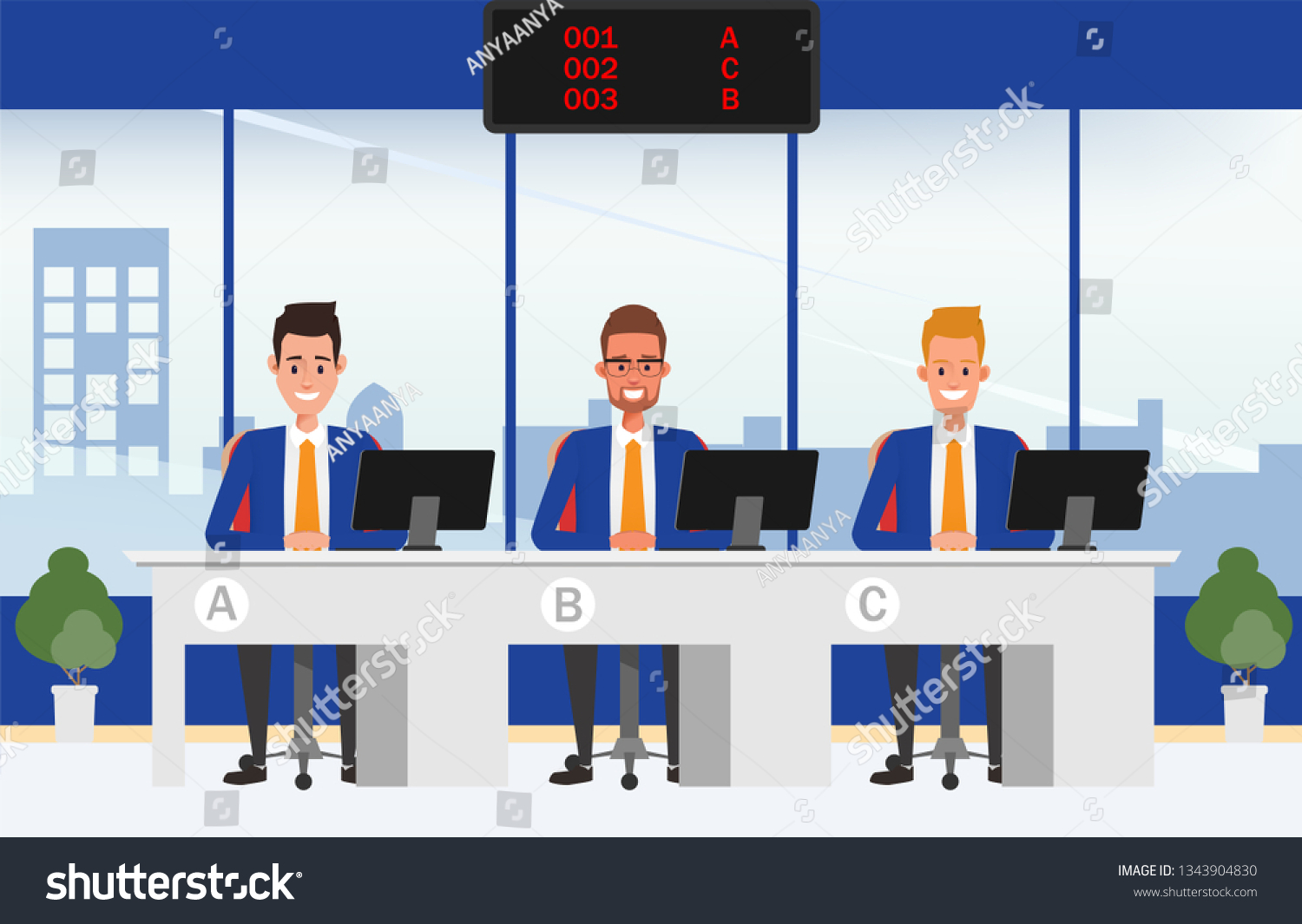 Financial Institution Bank Office Operator Bank Stock Vector Royalty Free 1343904830