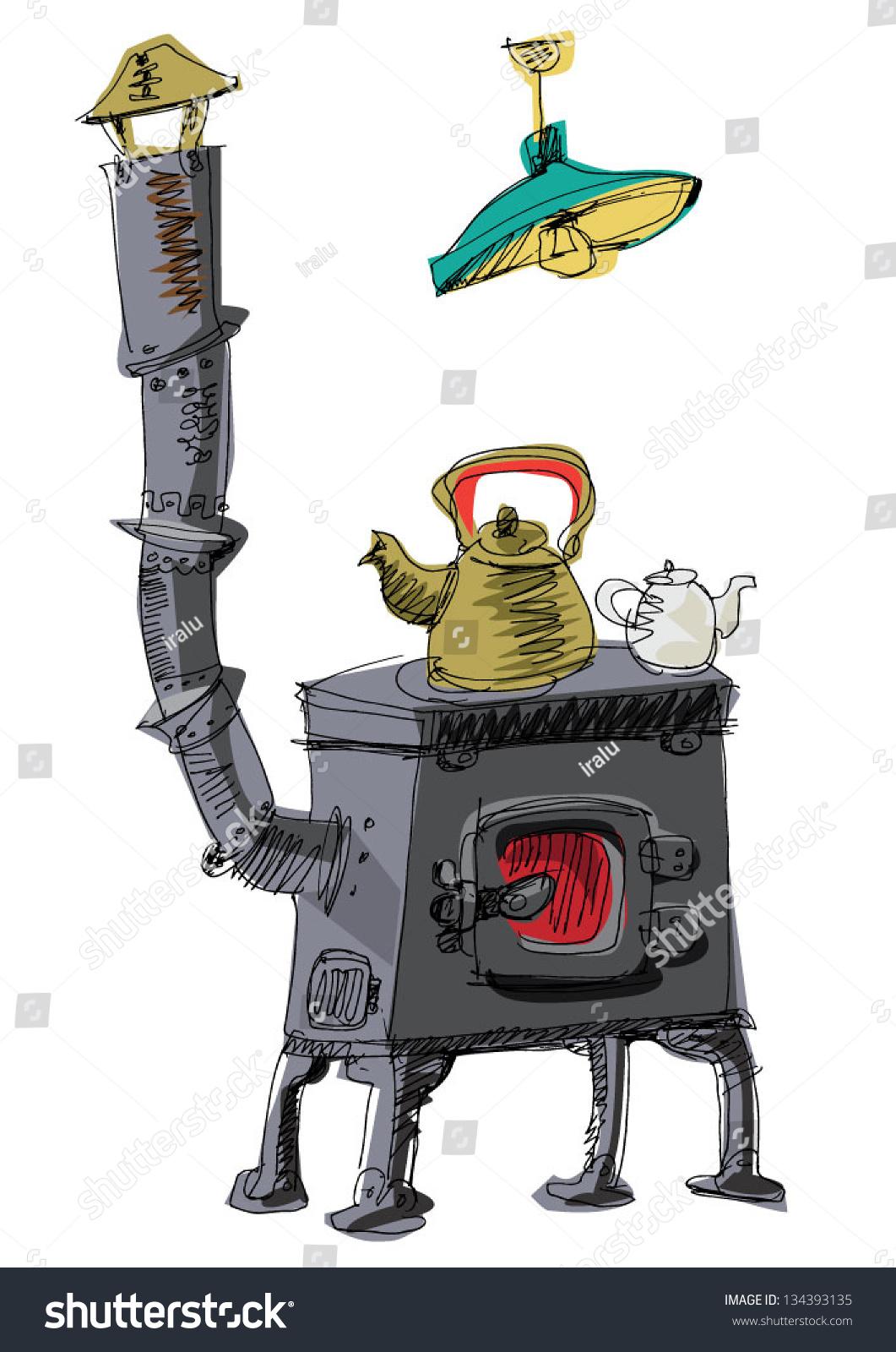 Vintage Coal Oven Cartoon Stock Vector 134393135