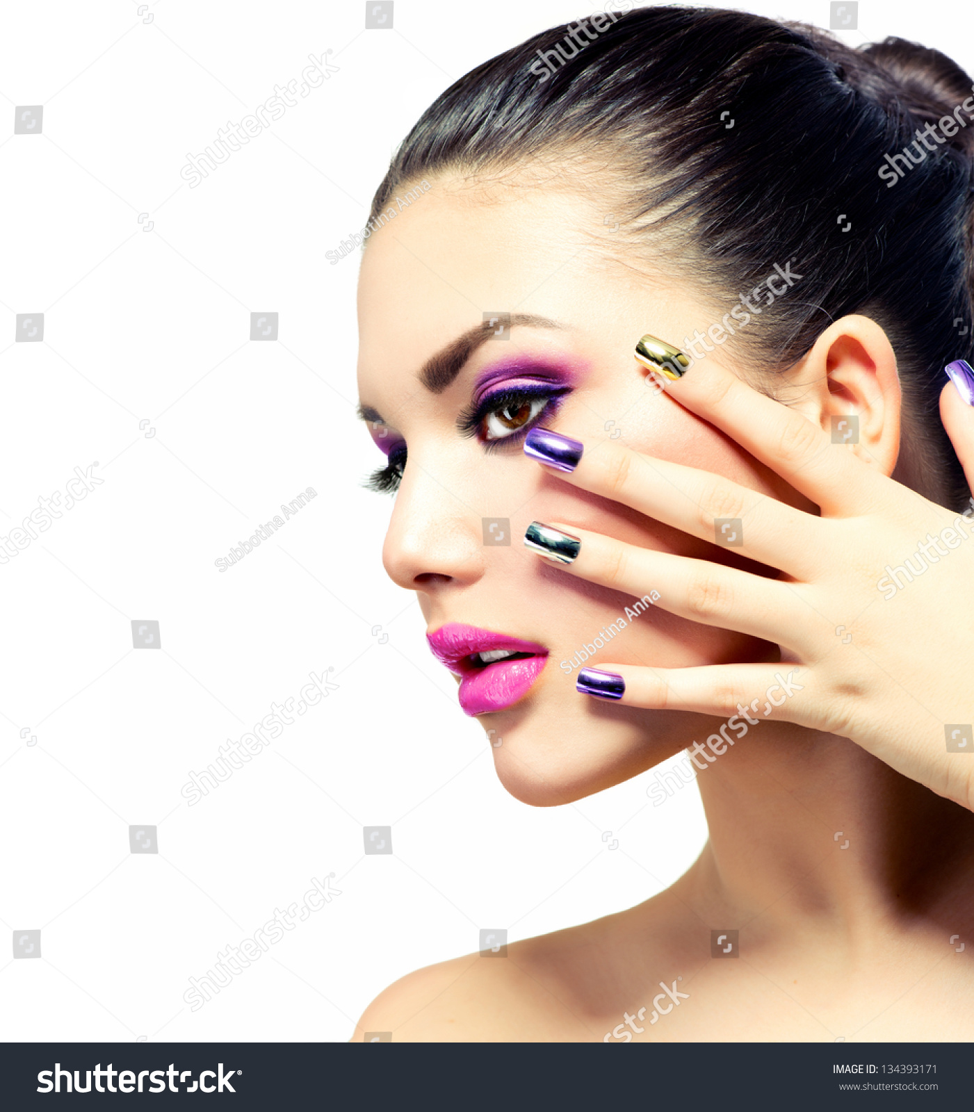 Fashion Beauty Manicure Makeup Nail Art Stock Photo 134393171 Shutterstock