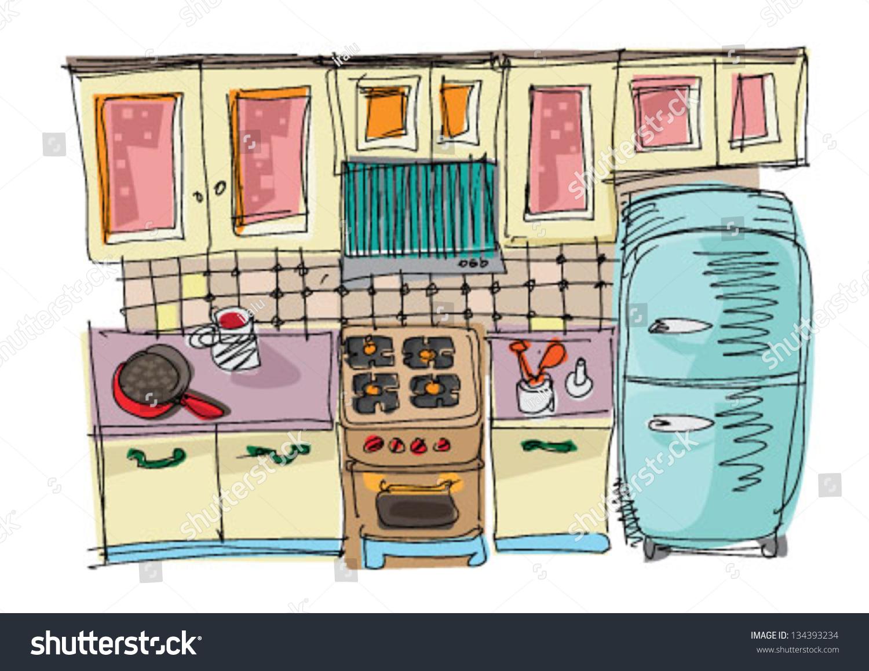 Kitchen Cartoon Stock Vector 134393234 Shutterstock
