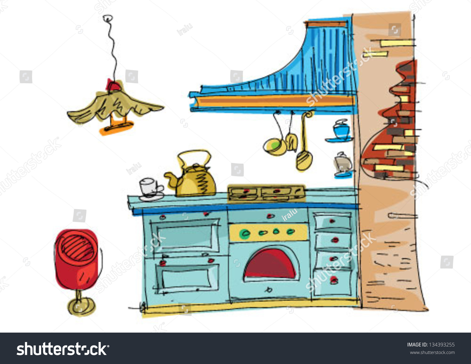 vintage kitchen cartoon stock vector illustration 134393255
