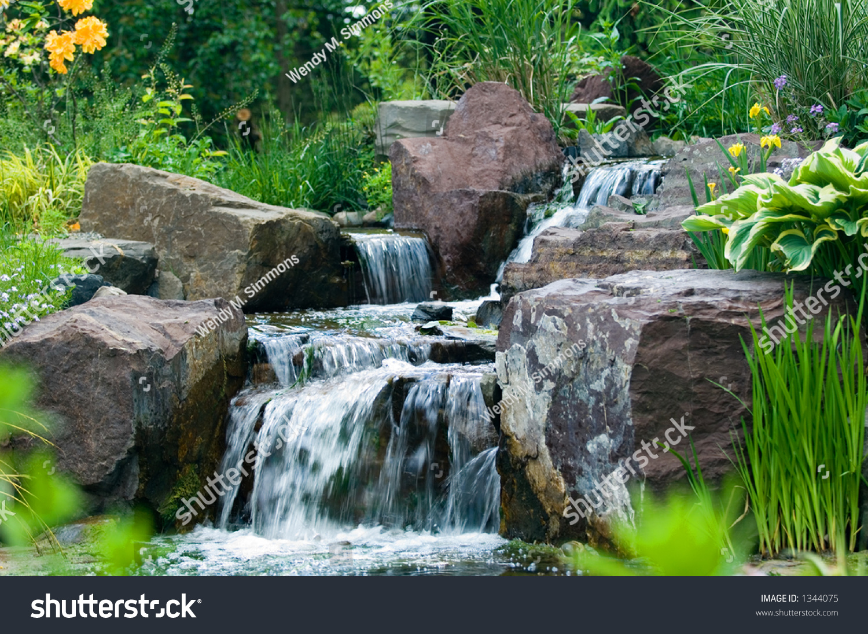Rock Garden And Waterfall