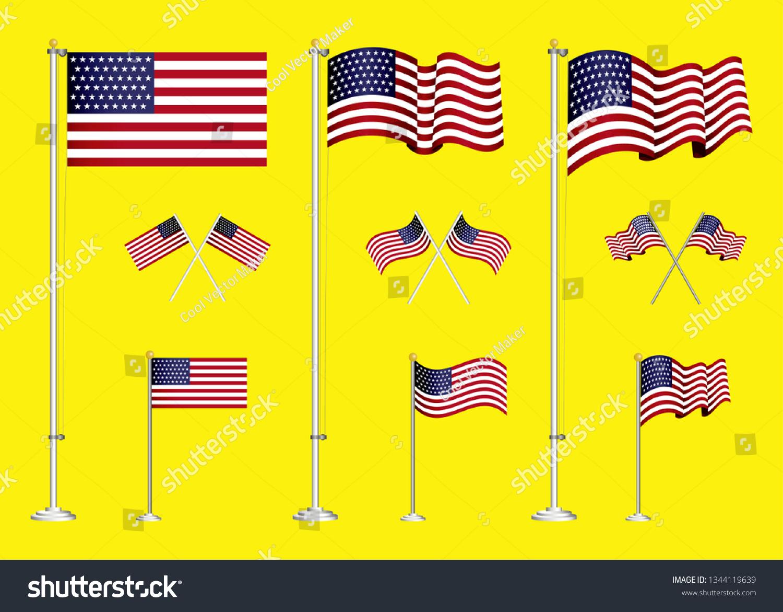 Set American Flag Clip Art Easy Stock Vector (Royalty Free