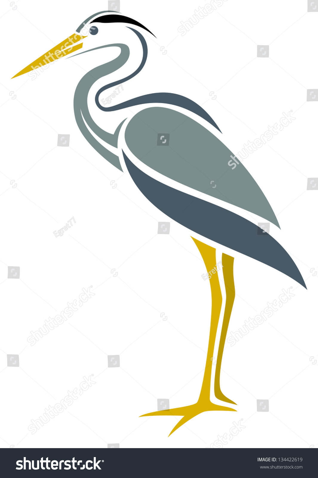Stylized Great Blue Heron Stock Vector Royalty Free 134422619