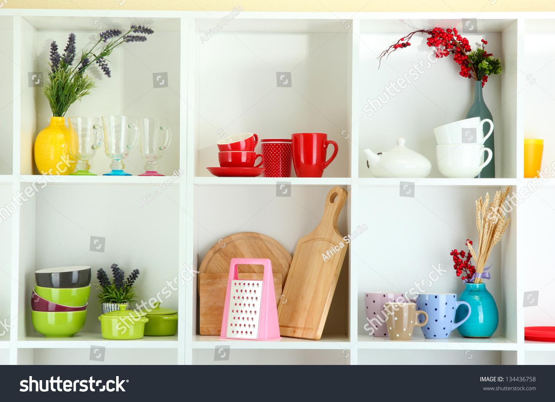 Beautiful white shelves with tableware and decor stock photo 134436758 shutterstock - Beautiful photoshelves ...