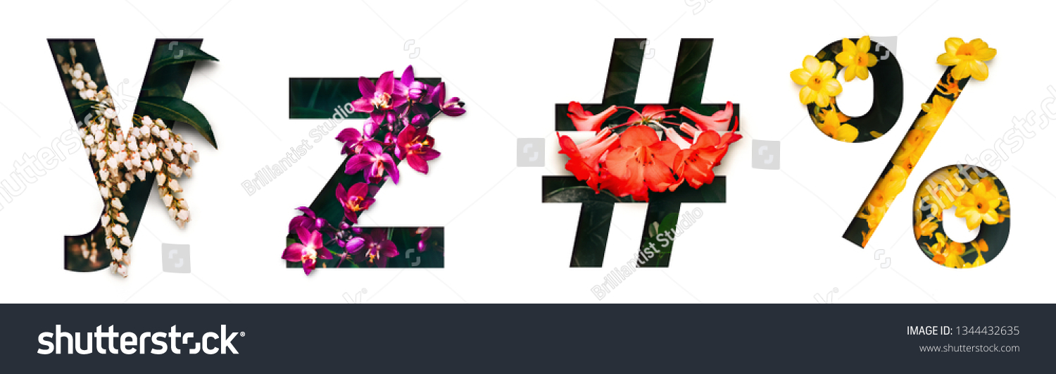 Flower font letter y, z, #, % Create with real alive flowers and Precious paper cut shape of alphabet. Collection of brilliant bloom flora font for your unique text, typography with many concept ideas #1344432635