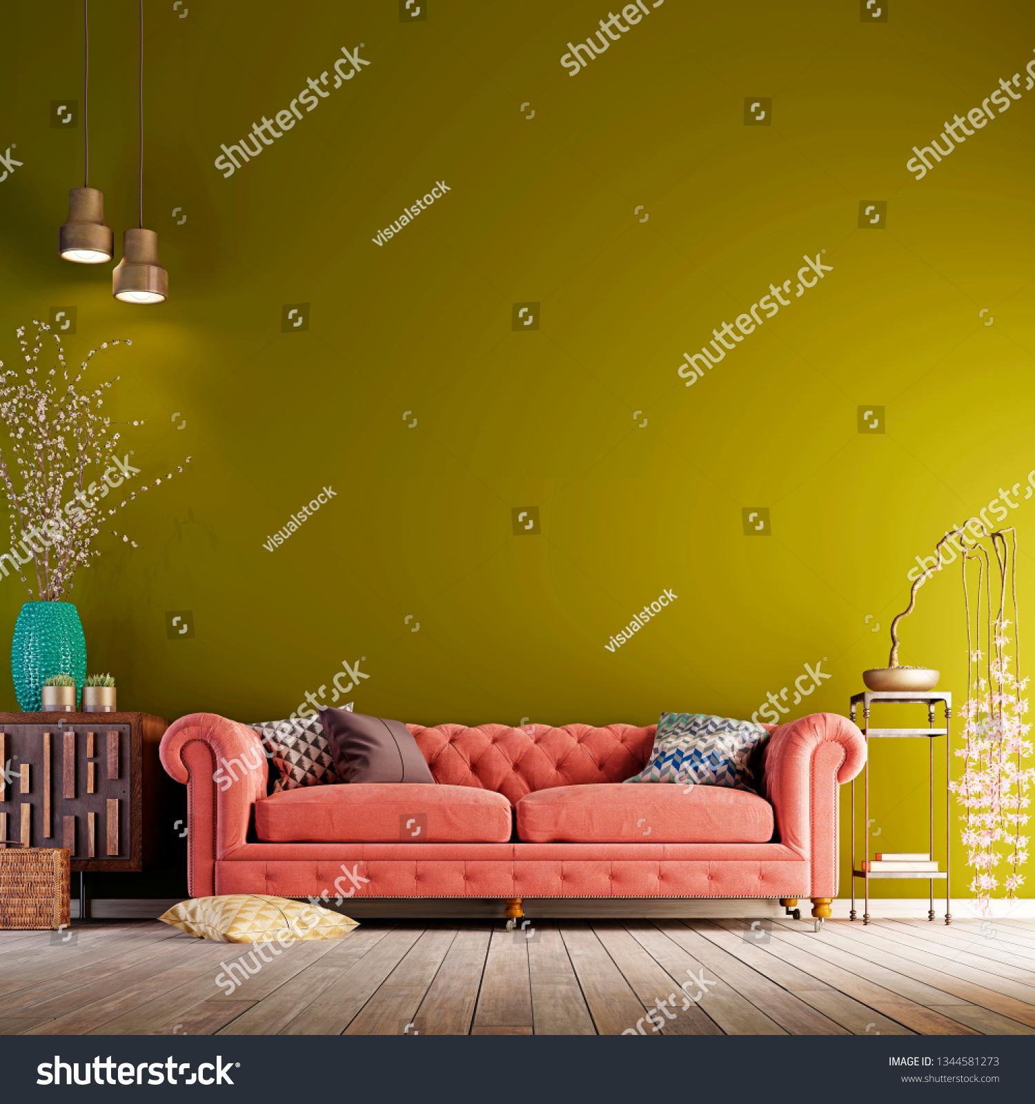 Modern Living Room Green Background ...