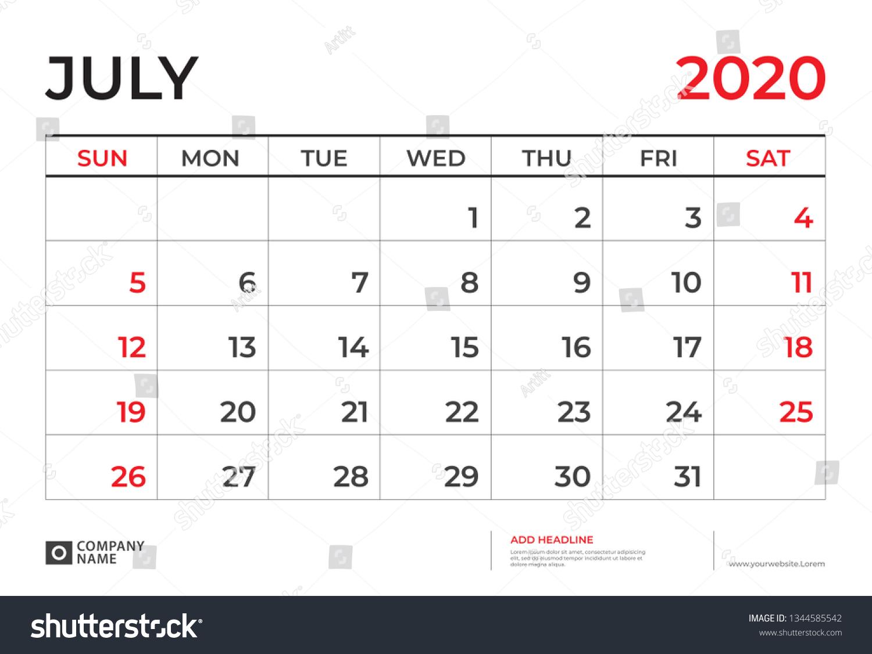 July 2020 Calendar Template Desk Calendar Stock Vector