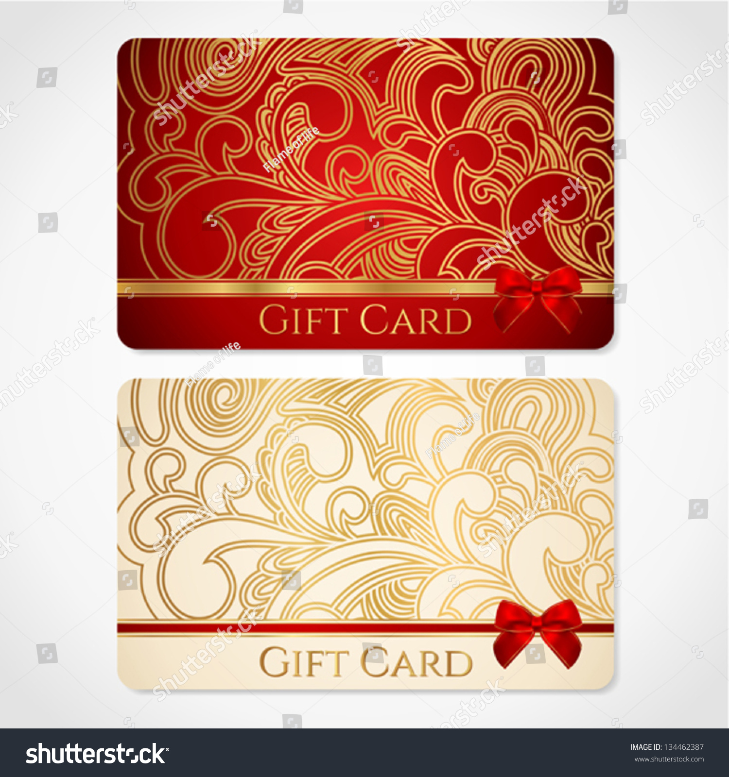 Design of discount card - Red And Gold Gift Card Discount Card With Floral Pattern And Red Bow