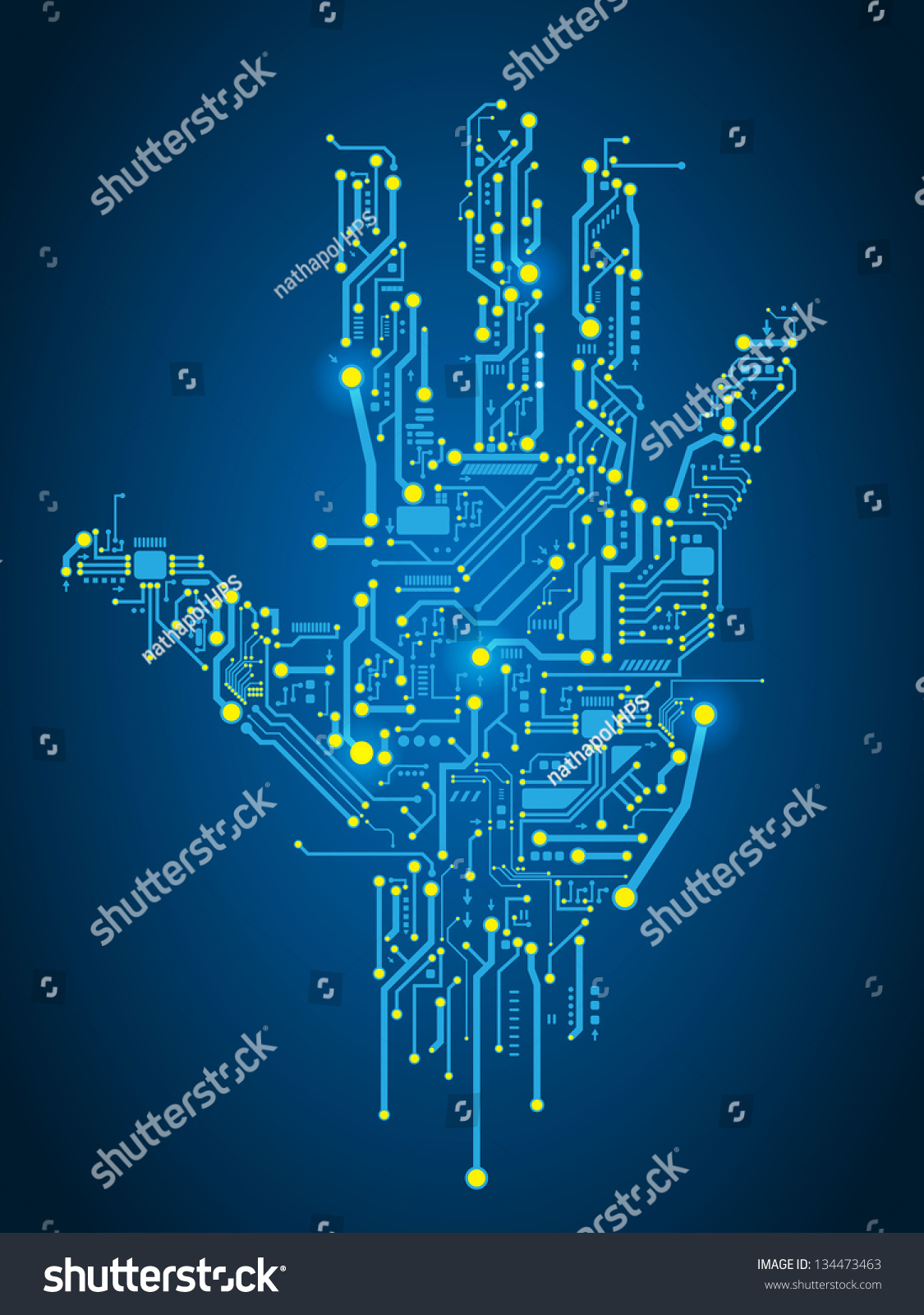 Circuit Abstract Hand Vector Background Stock Vector (Royalty Free ...