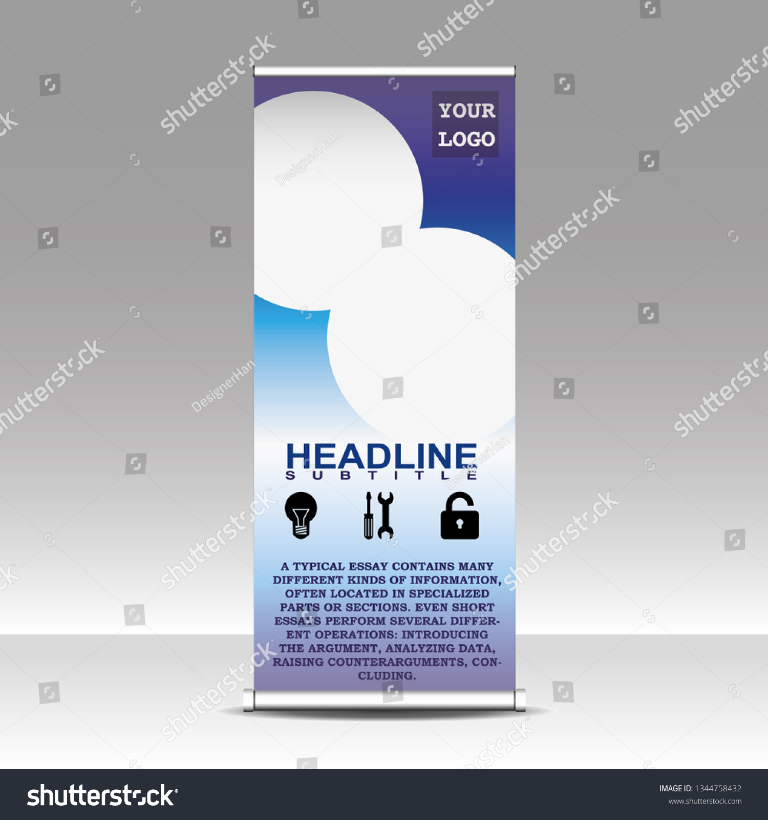 Commercial Use Informative Roll Banner Design Stock Vector Royalty Free 1344758432