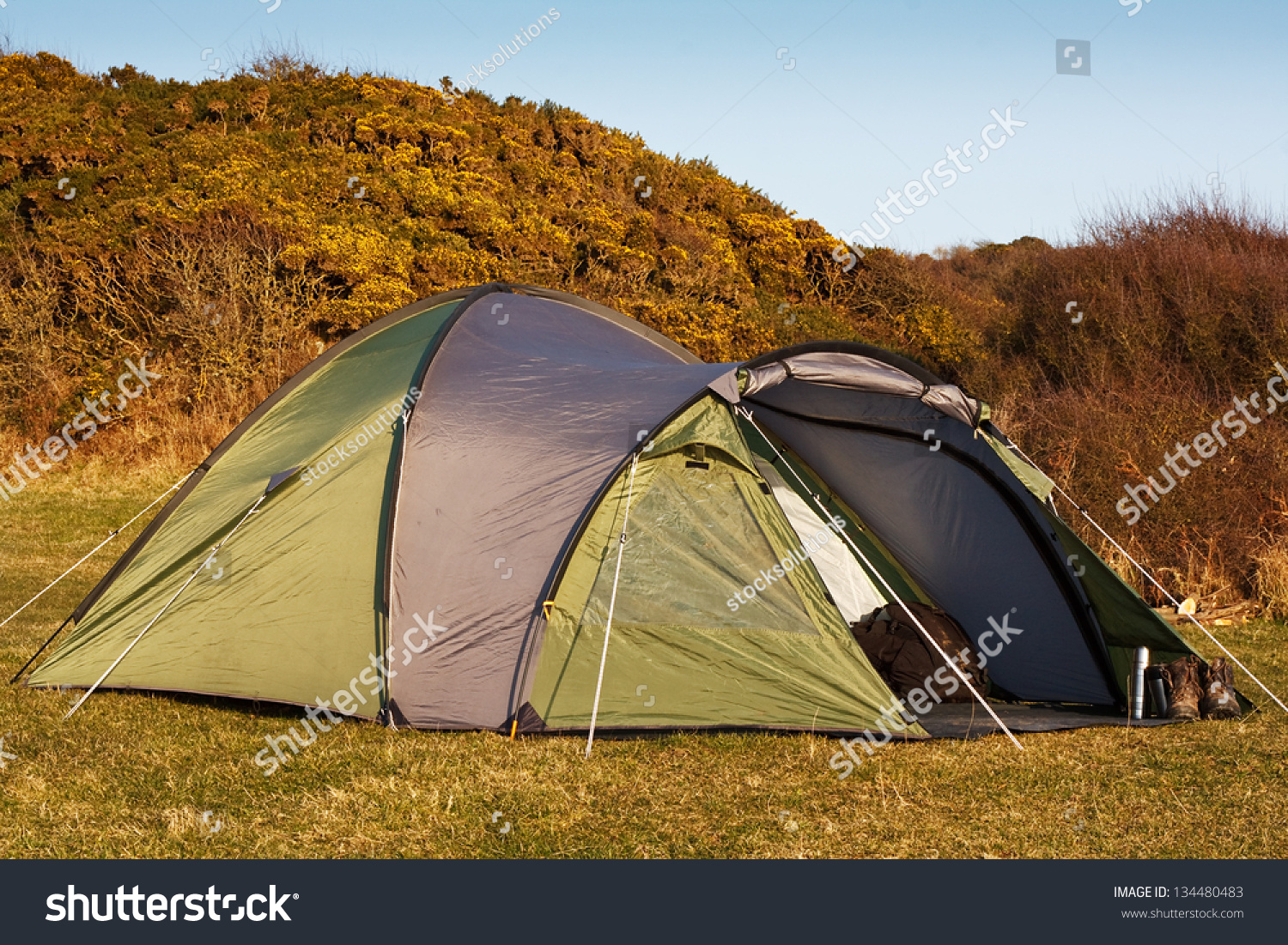 Dome Tent Pitched Field Wild C&ing Stock Photo 134480483 - Shutterstock & Dome Tent Pitched Field Wild Camping Stock Photo 134480483 ...