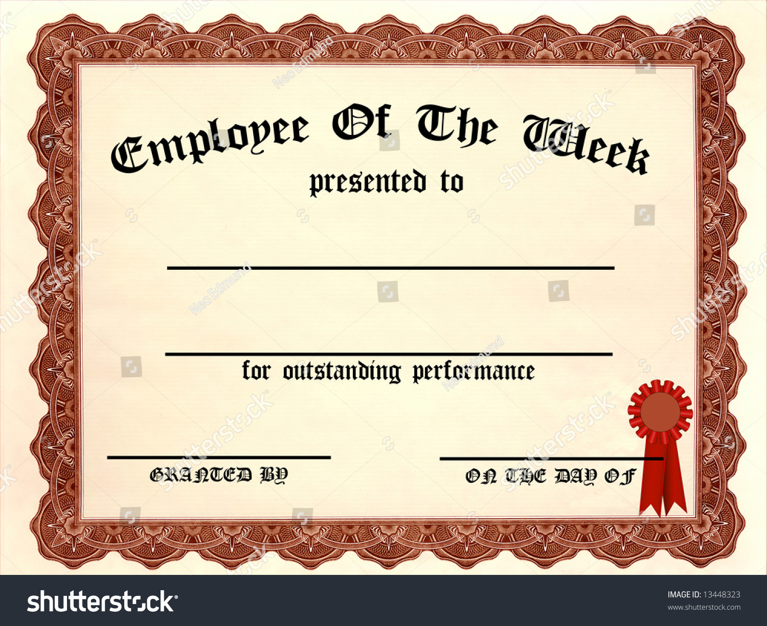 Employee Of The Week Certificate - Fill In The Blanks Stock Photo ...