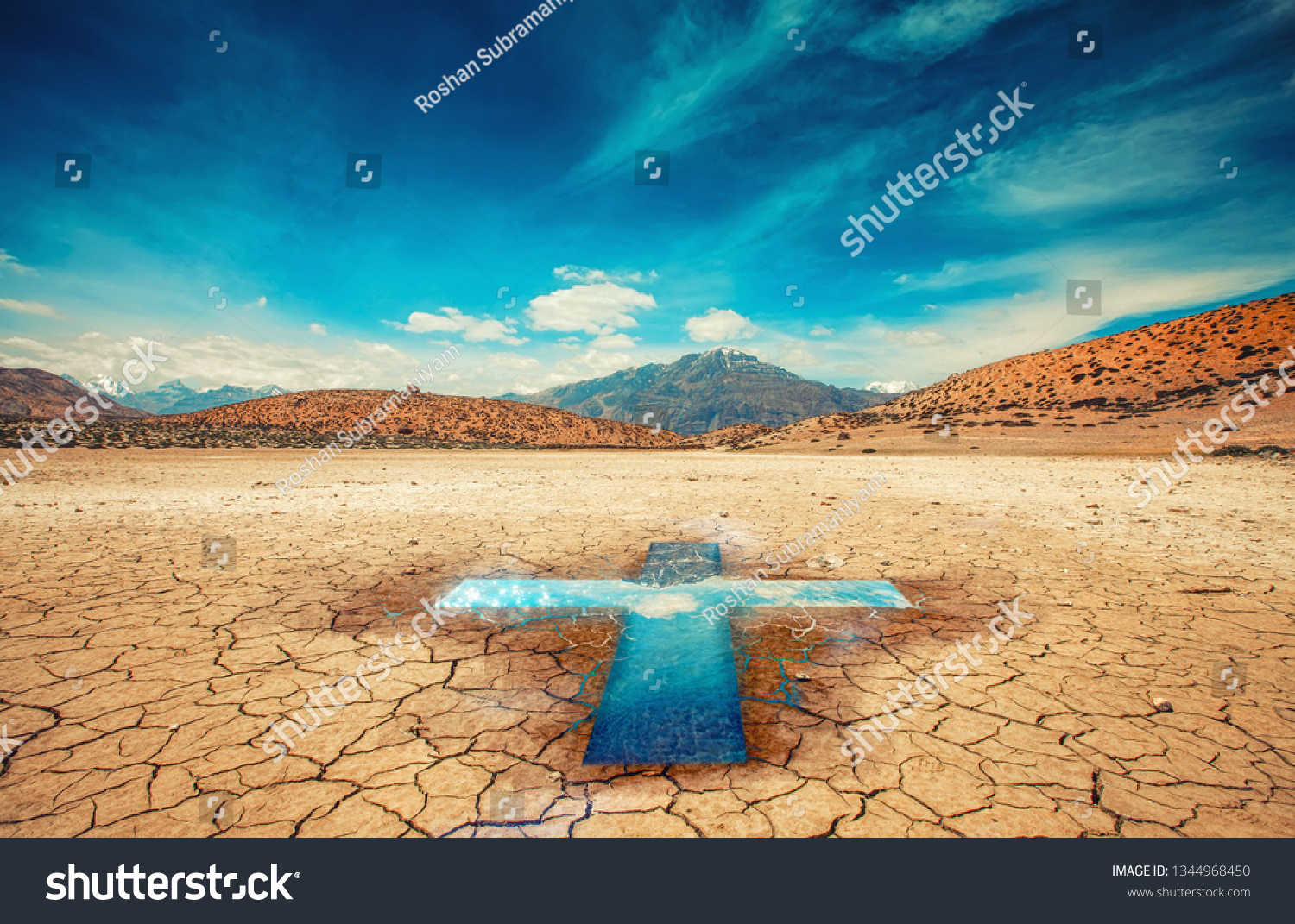 Cross Desertchristian Backgroundjesus Christ Crossworship Background Stock Photo Edit Now 1344968450