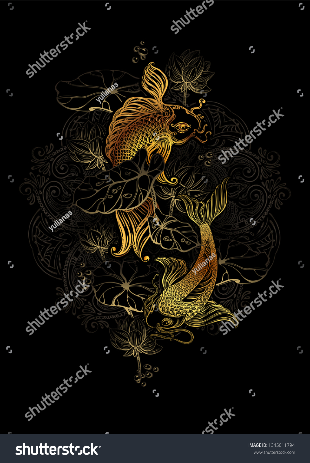 Koi carps and lotus asian spiritual symbols goldfish rises in upwards it can be used for tattoo embroidery and fancywork or print for interior