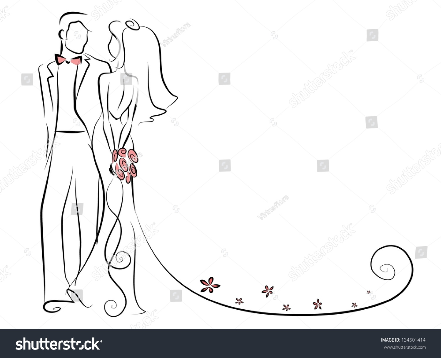 Silhouette Bride Groom Background Wedding Invitation Stock Vector