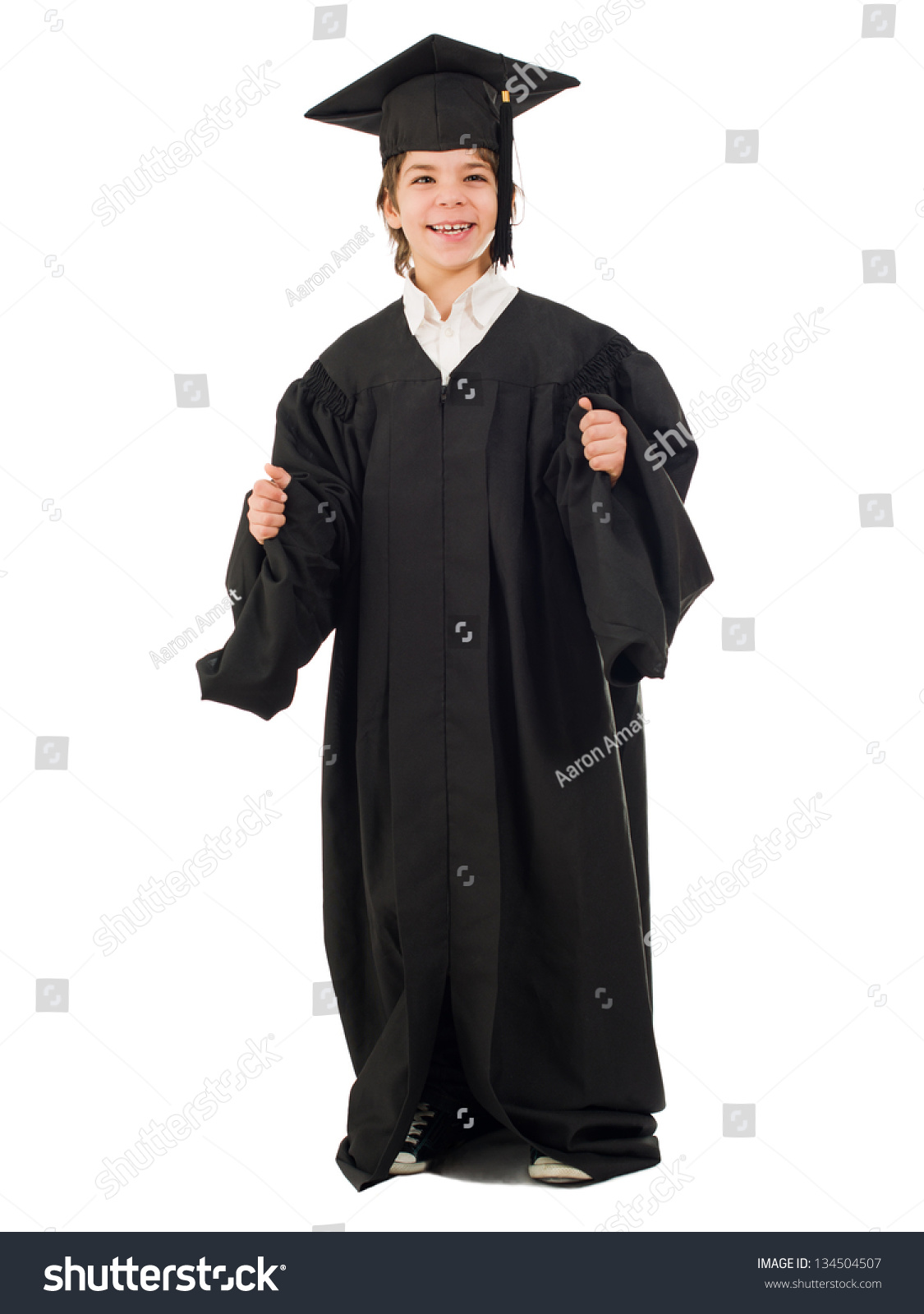 Portrait Boy Graduation Gown Isolated On Stock Photo (Edit Now ...