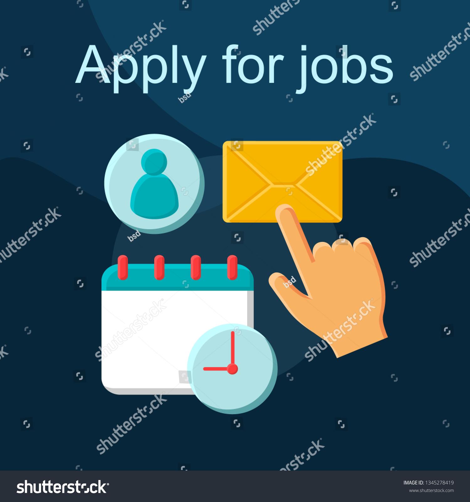 Apply Jobs Flat Concept Vector Icon Stock Vector (Royalty