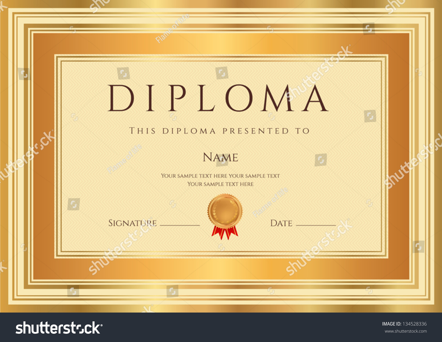 Diploma Certificate Template Guilloche Pattern Bronze Vector – Official Certificate Template