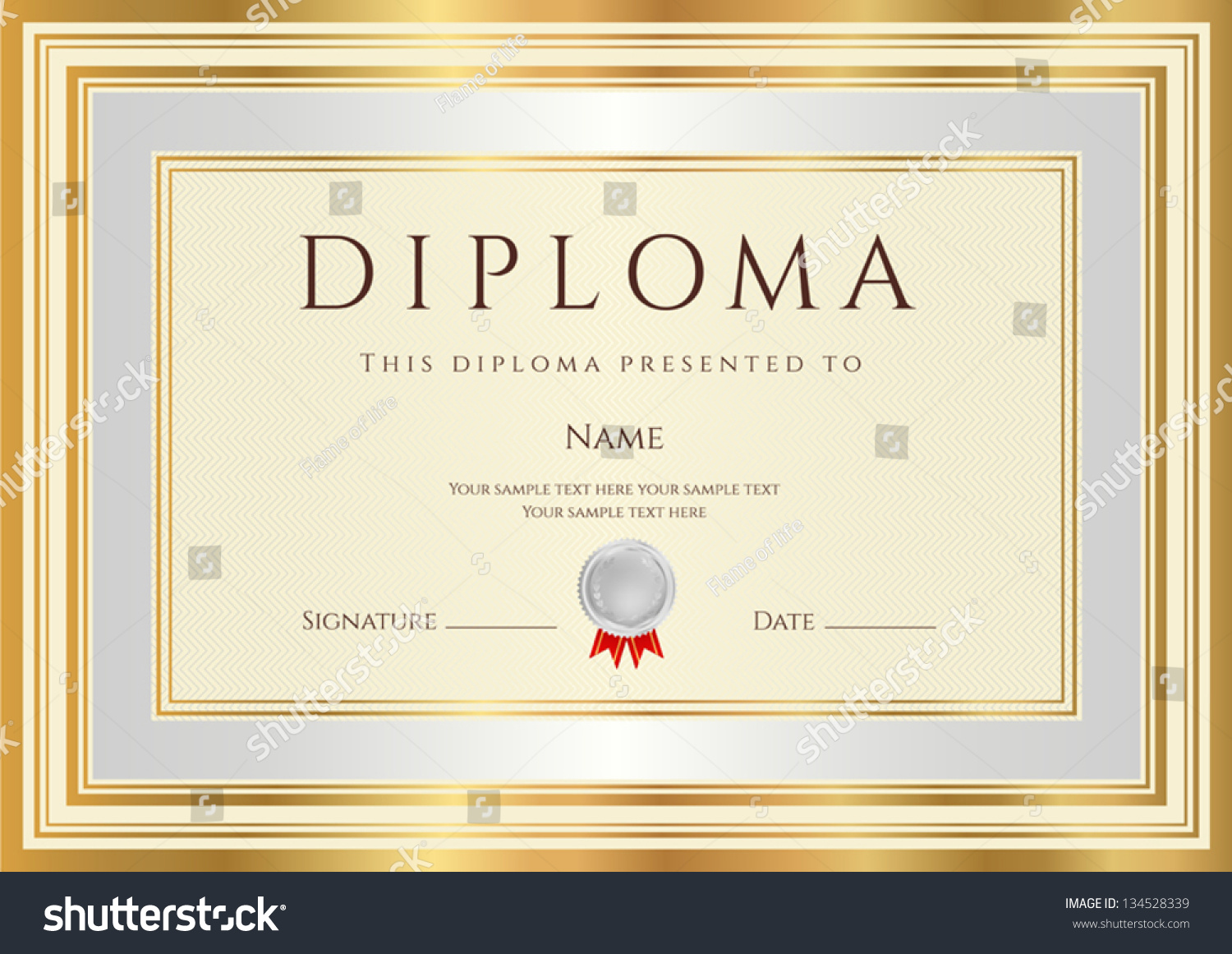 Royalty free diploma certificate template with 134528339 stock diploma certificate template with guilloche pattern silver and gold border background design usable yadclub Choice Image