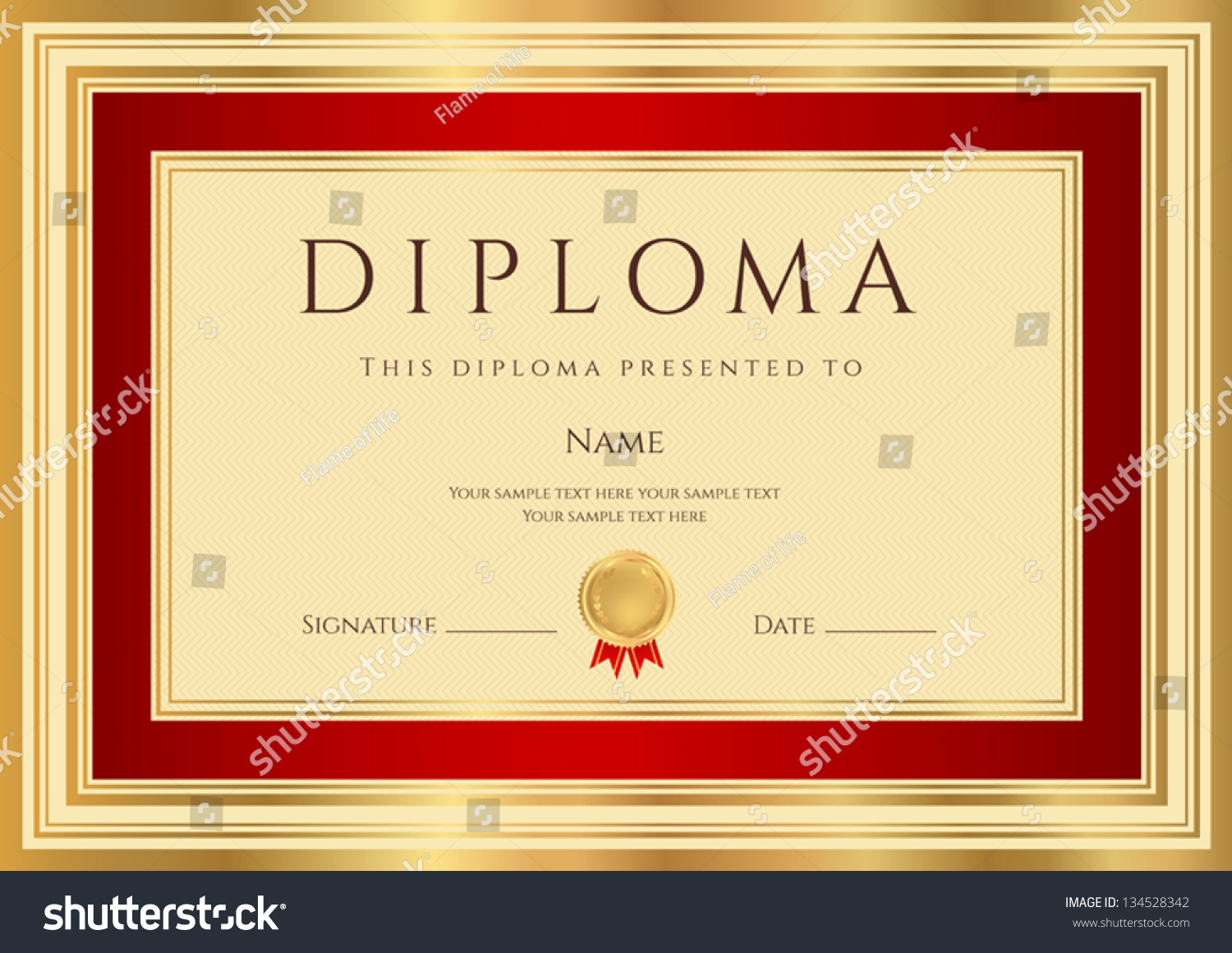 Diploma Certificate Template Guilloche Pattern Red Stock Vector