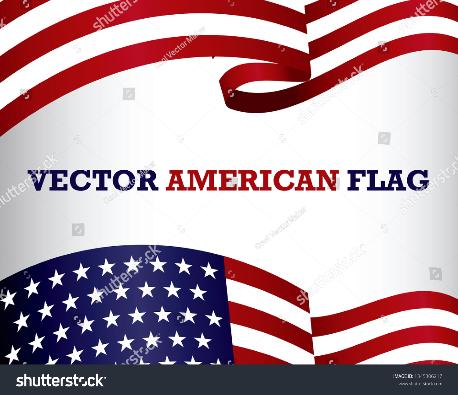 Set American Flag Clip Art Easy Stock Vector (Royalty Free) 1345306217
