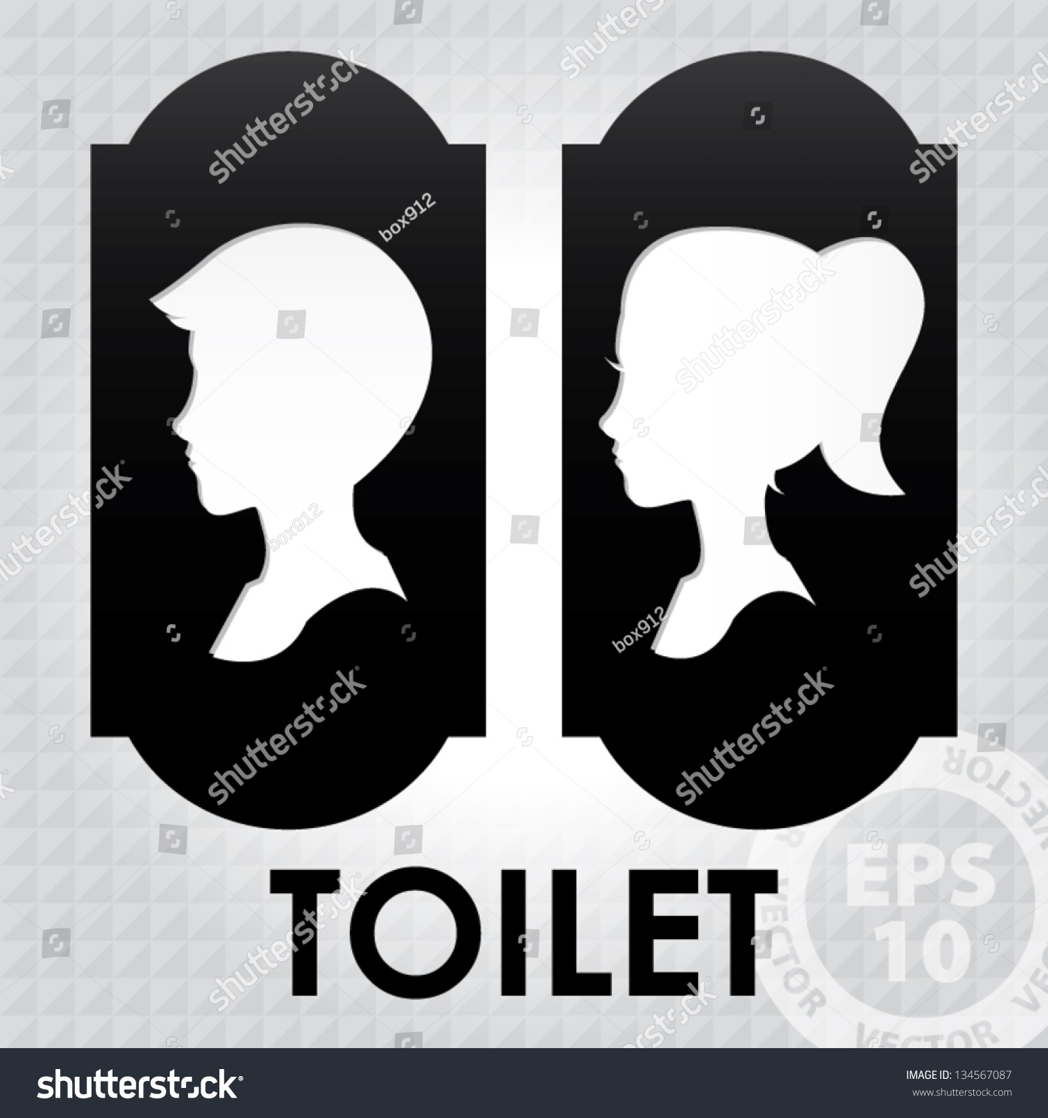 Girls bathroom sign outline - Classic Toilet Sign With Boy And Girl Head 01 Eps10 Vector