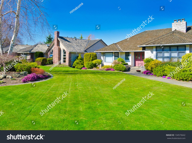 big custom made luxury house nicely stock photo 134573642