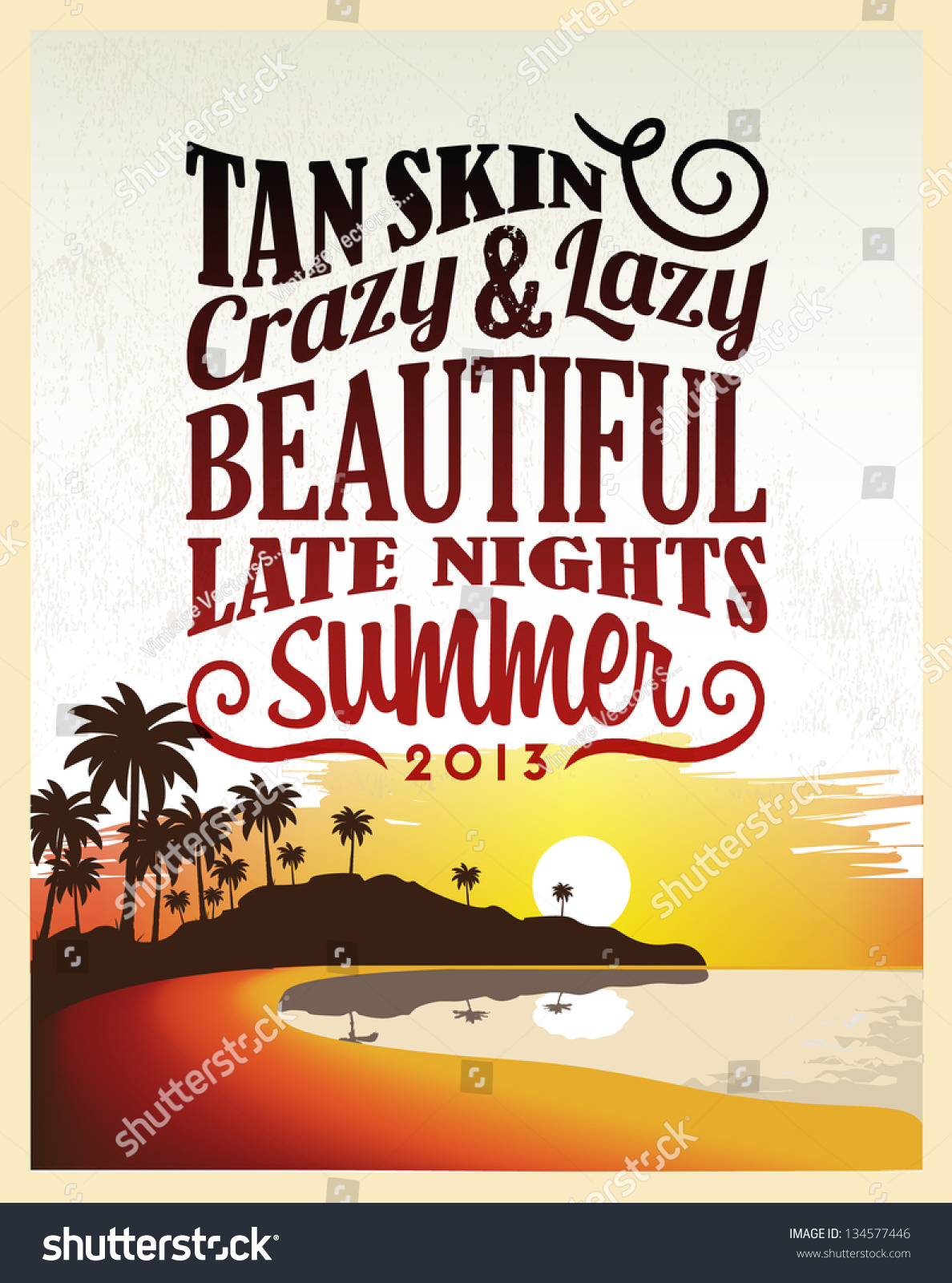 Design poster retro - Retro Vintage Summer Poster Design With Typography