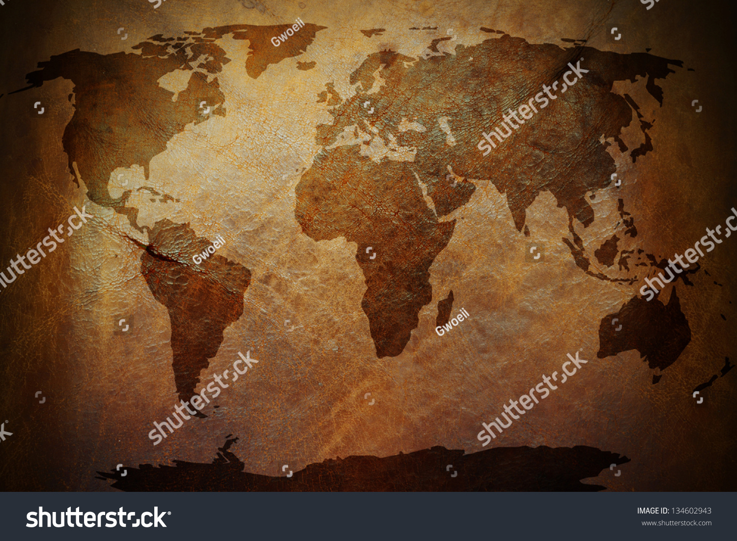 World map print on old vintage stock photo edit now shutterstock a world map print on an old vintage brown leather parchment gumiabroncs Images